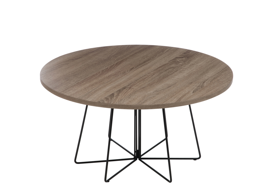 Qualité supérieure b30f6 092d5 Table basse ronde, plateau bois naturel et pieds métal - D80 H40cm