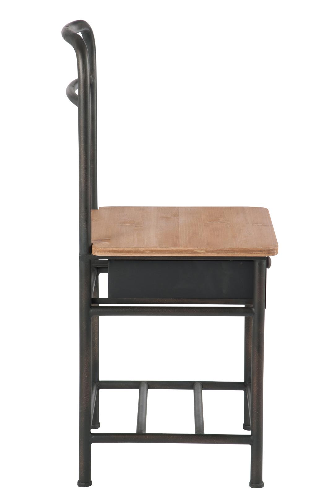 Valet de chambre avec chaise et tiroir, métal marron et bois clair ...