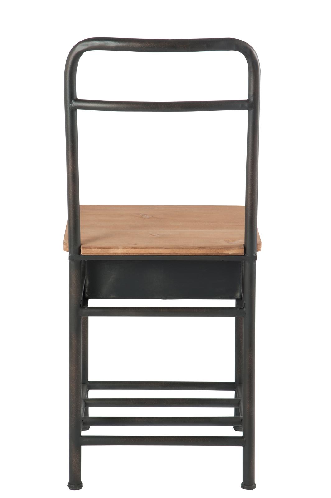Valet de chambre avec chaise et tiroir, métal marron et bois clair FOREST