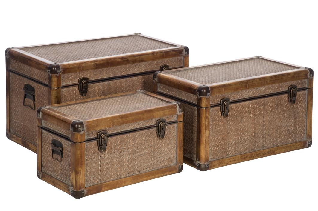 100% authentique 4baac 89f56 Lot de 3 malles / coffres de rangement en bois et rotin