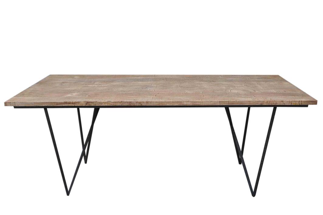 Table Plateau Bois Pied Metal.Table Repas Plateau Bois Et Pieds Metal 200x90x75cm Forest