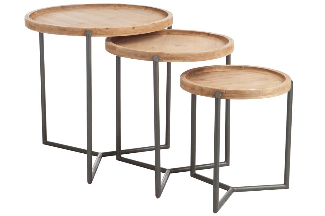 Lot De 3 Tables Gigognes Rondes Bois Et Metal Landaise Tables