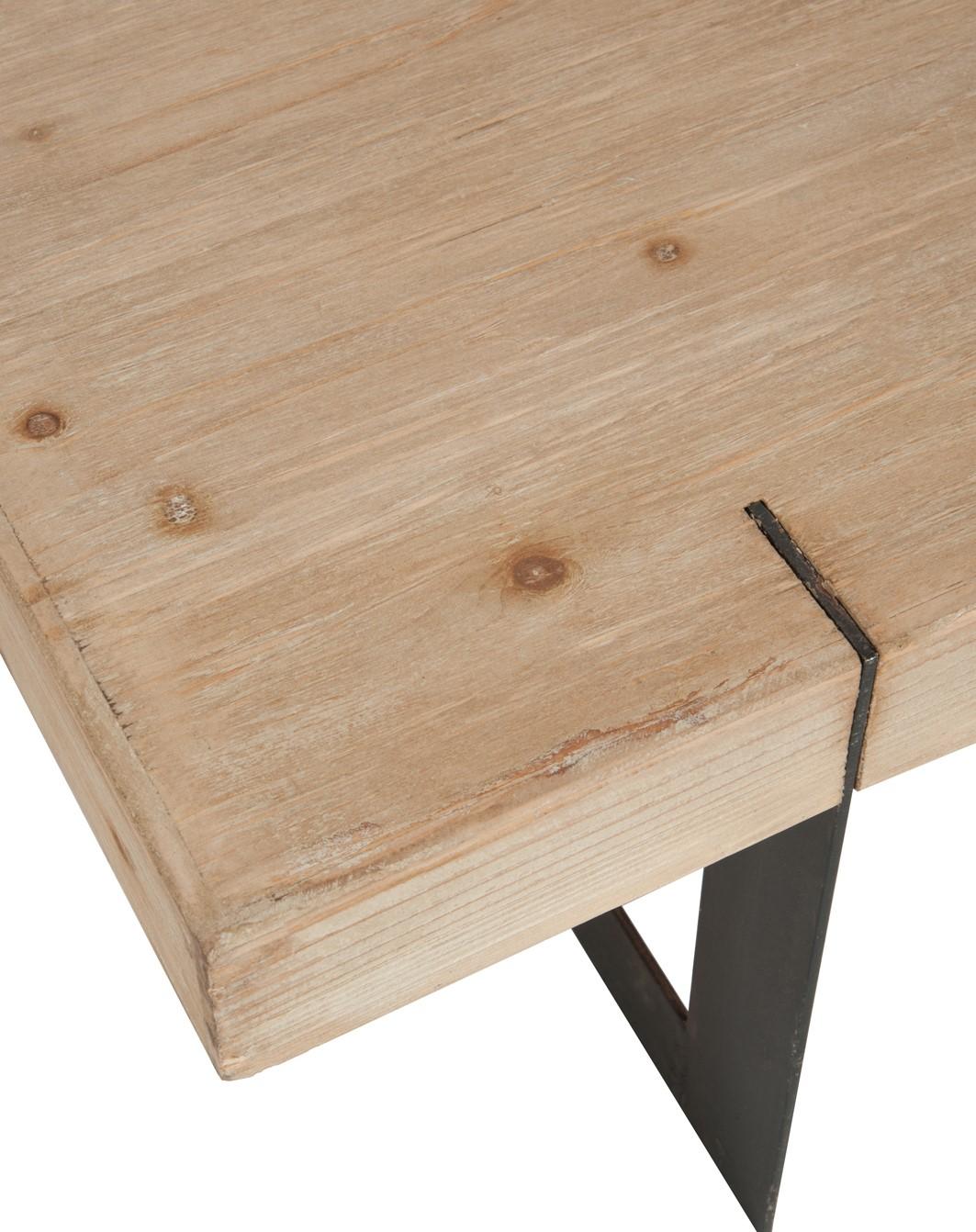Table Basse En Bois Brut.Table Basse Rectangle En Bois Brut Et Pieds Metal Noir 150x80x35cm