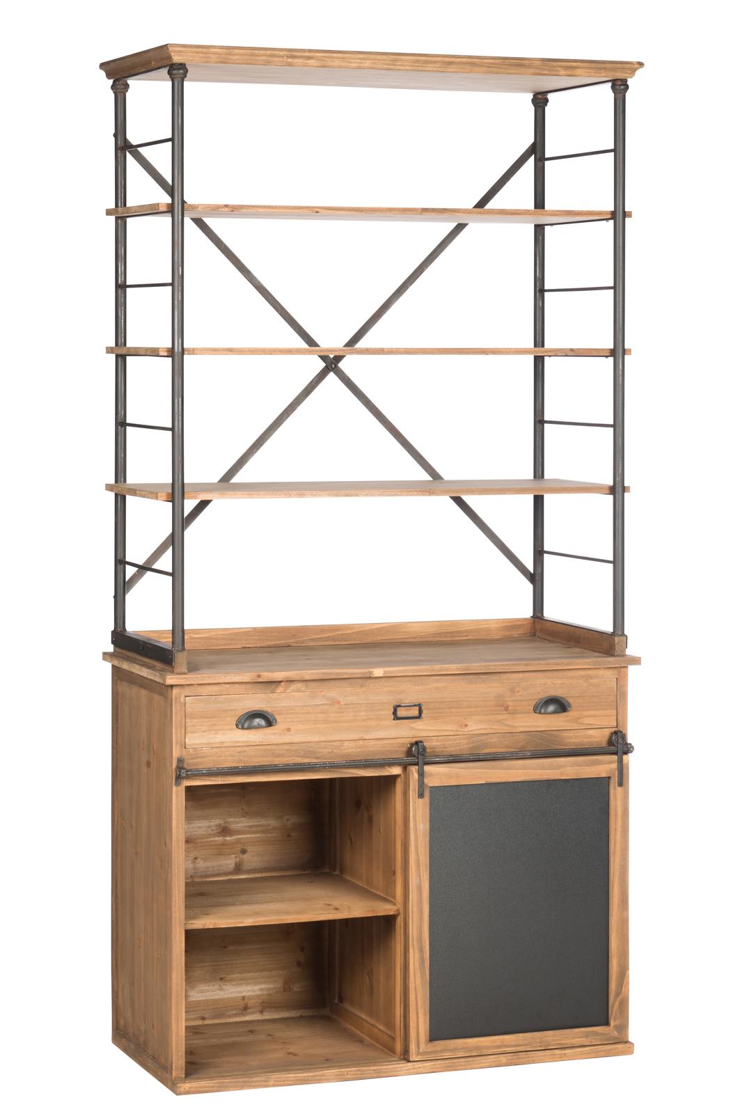 Cuisine Bois Et Metal bahut cuisine bois métal étagères et armoire 100x47x200 cm ref.30022871