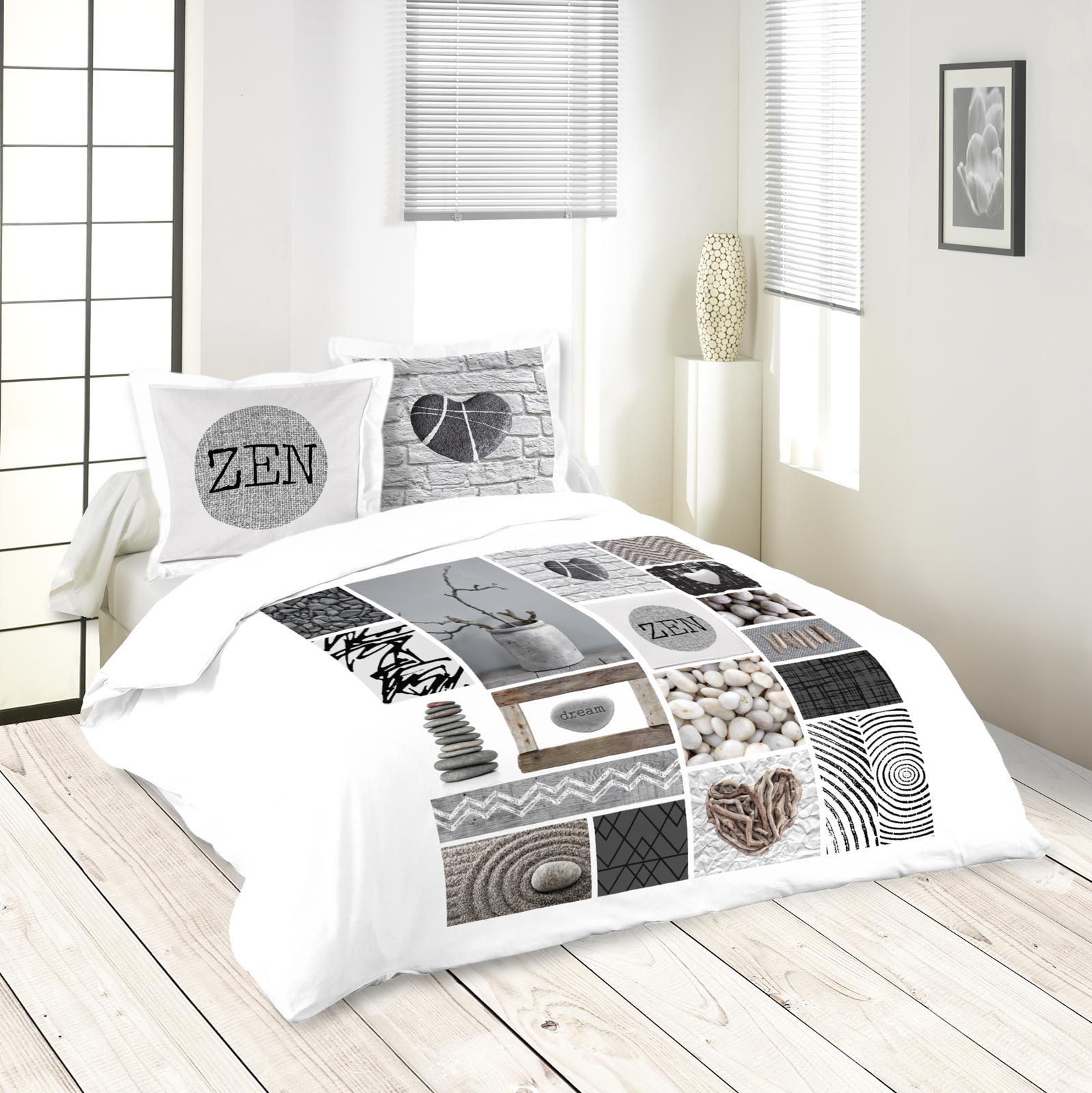 Parure De Lit Zen Romantique 260x240 Housse De Couette 2 Taies 63x63 100 Coton Cally
