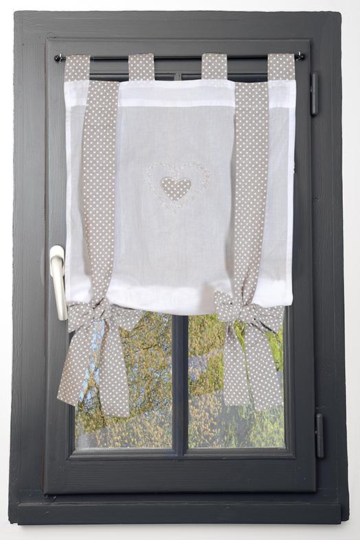 Rideau vitrage blanc romantique coeur brodé ruban à nouer vichy lin ...