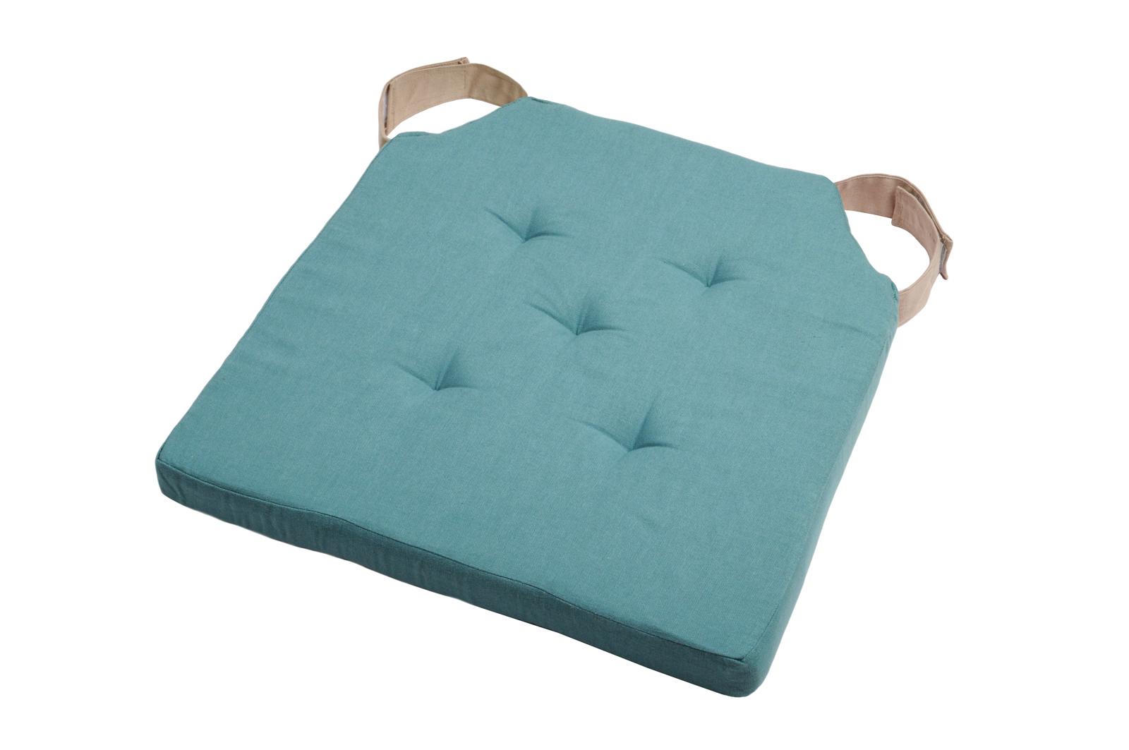 Par Duo Galette Velcro Lin Couleur 38x38cm De Bleu Attaches Chaise 8Onw0kXP