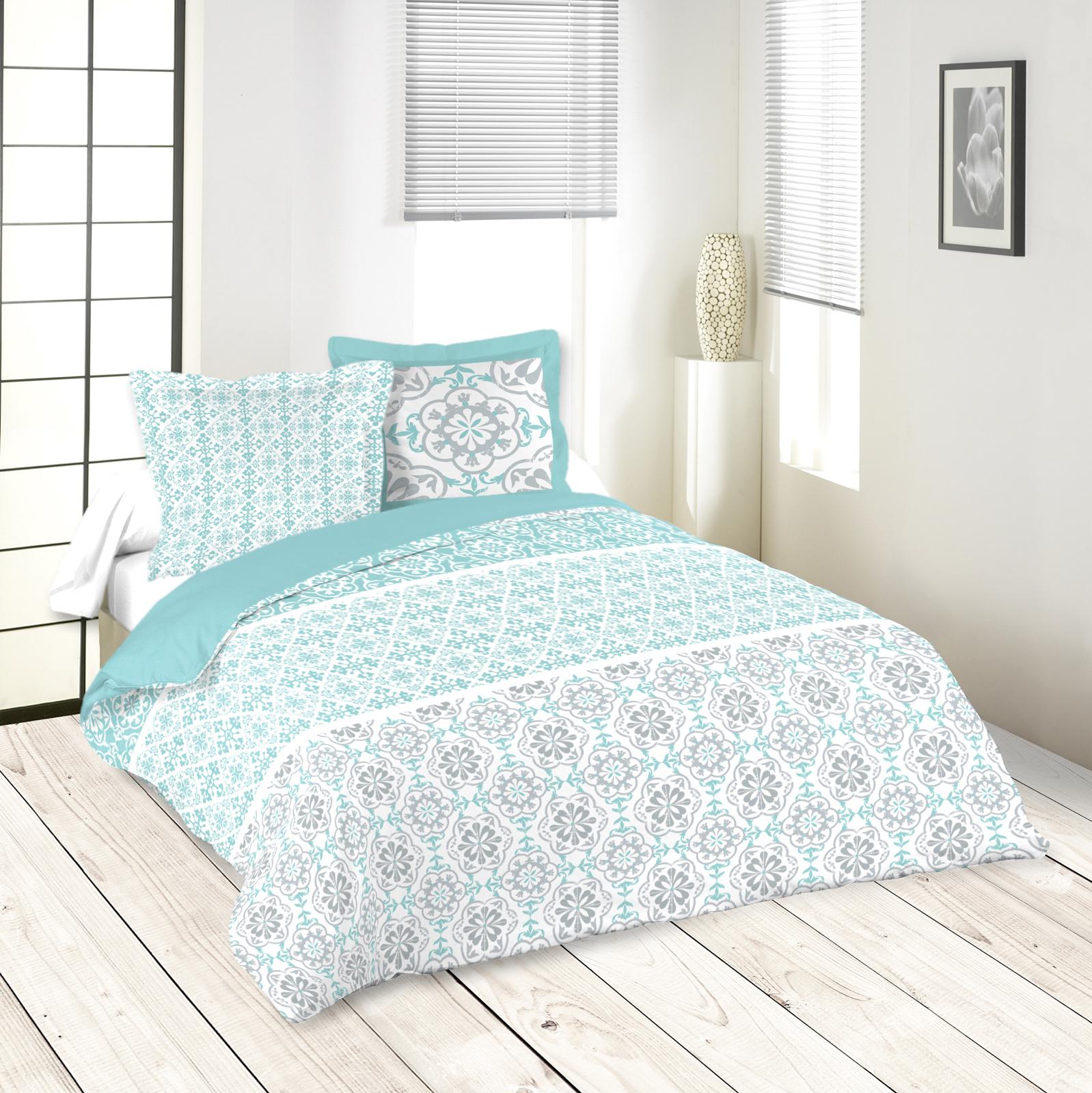 Housse De Couette Noir Blanc Gris parure de lit motifs arabesques bleu blanc gris 260x240 housse de couette +  2 taies 63x63 100% coton lisboa