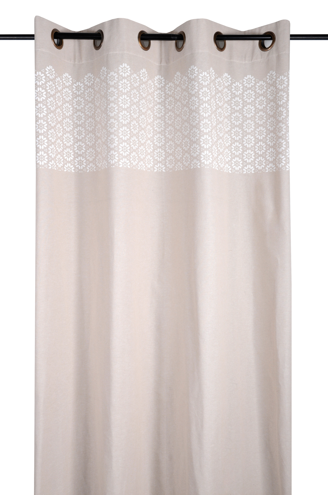 Rideau charme motif fleurs géométriques couleur lin et blanc ...