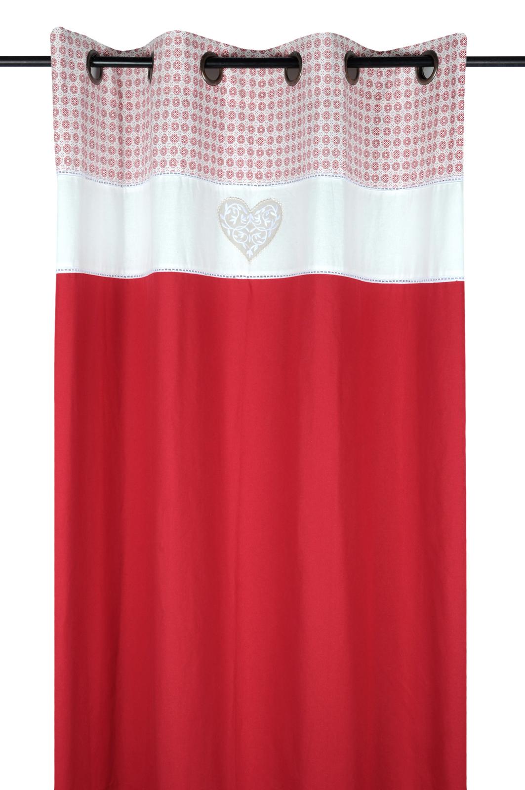 correspondant en couleur nouvelle qualité plus bas rabais Rideau romantique rouge décor façon carreaux de ciment et coeur brodé sur  bandeau blanc 140x260cm à oeillets DARLA ROUGE