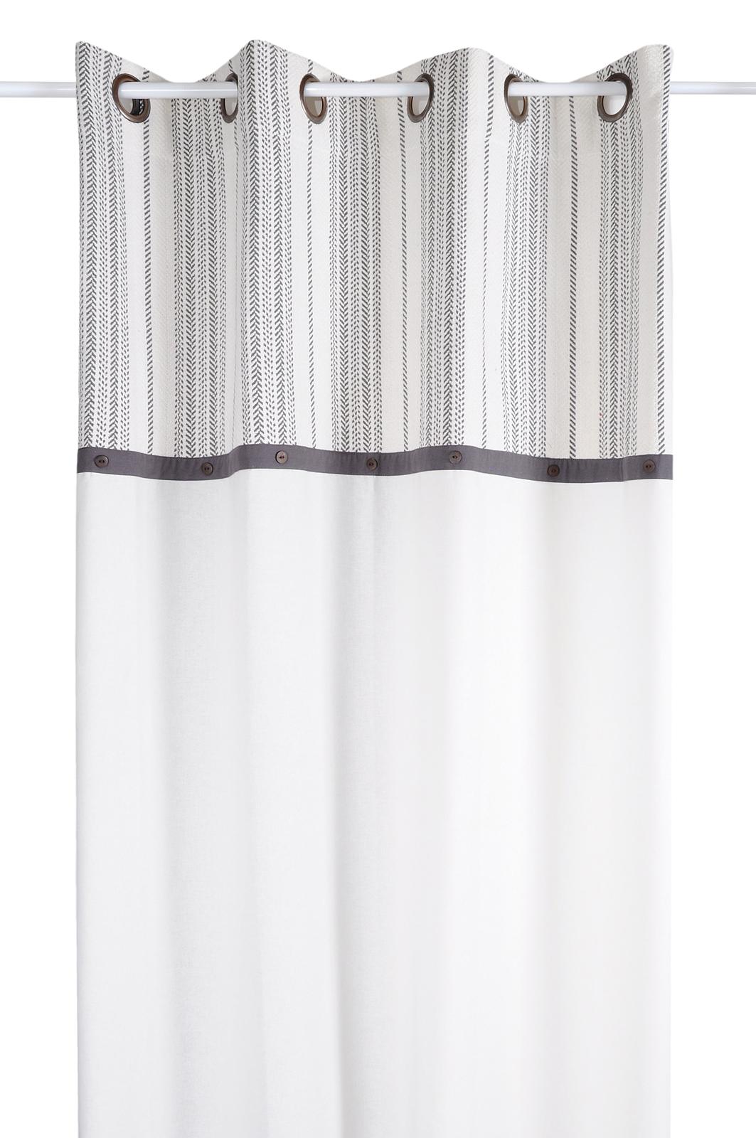 en ligne à la vente thésaurisation comme une denrée rare meilleur en ligne Rideau écru et rayures grises avec boutons sur bandeau anthracite 140x260cm  à oeillets VALDAVIA