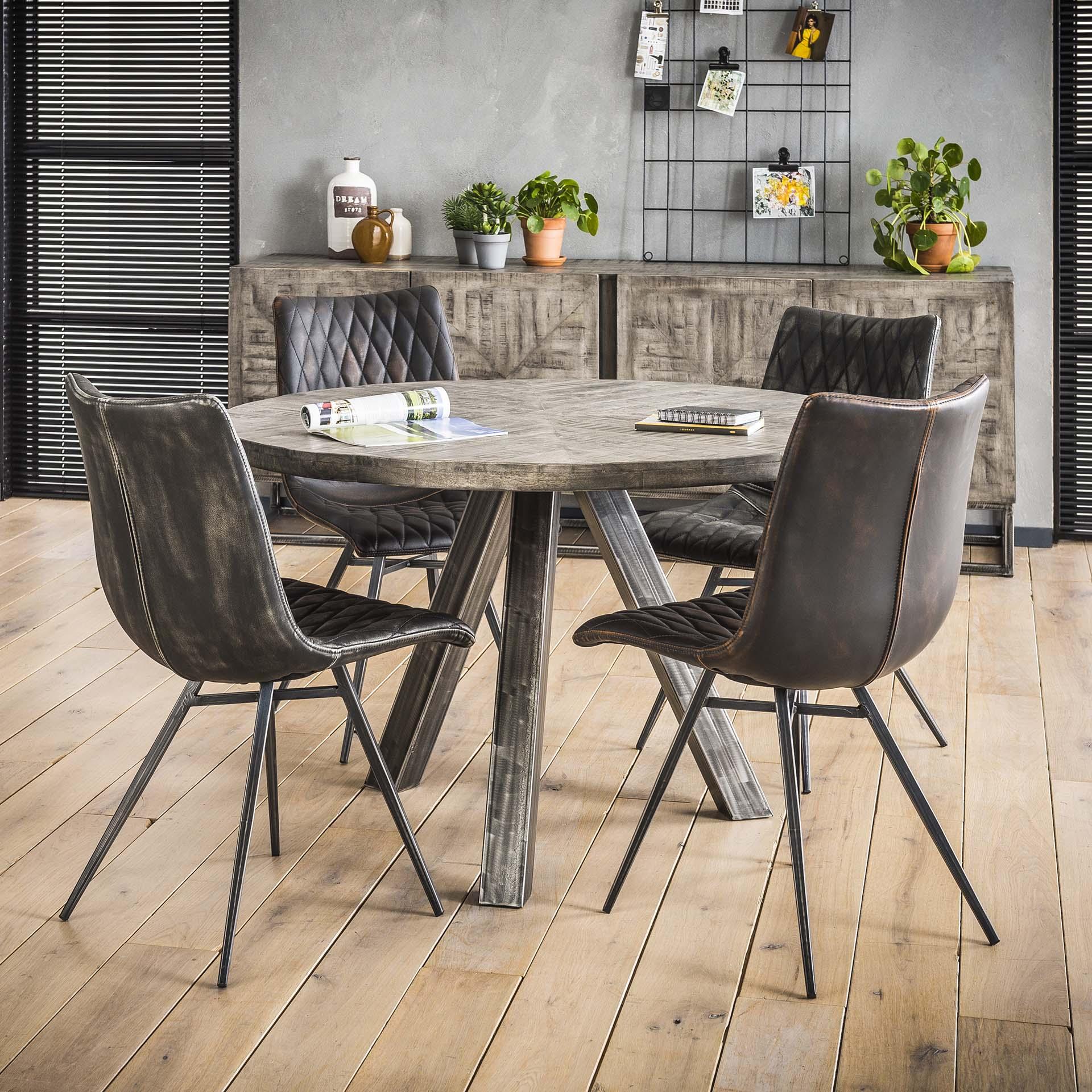 Table À Manger Industrielle table ronde industrielle grise 120 cm lucknow