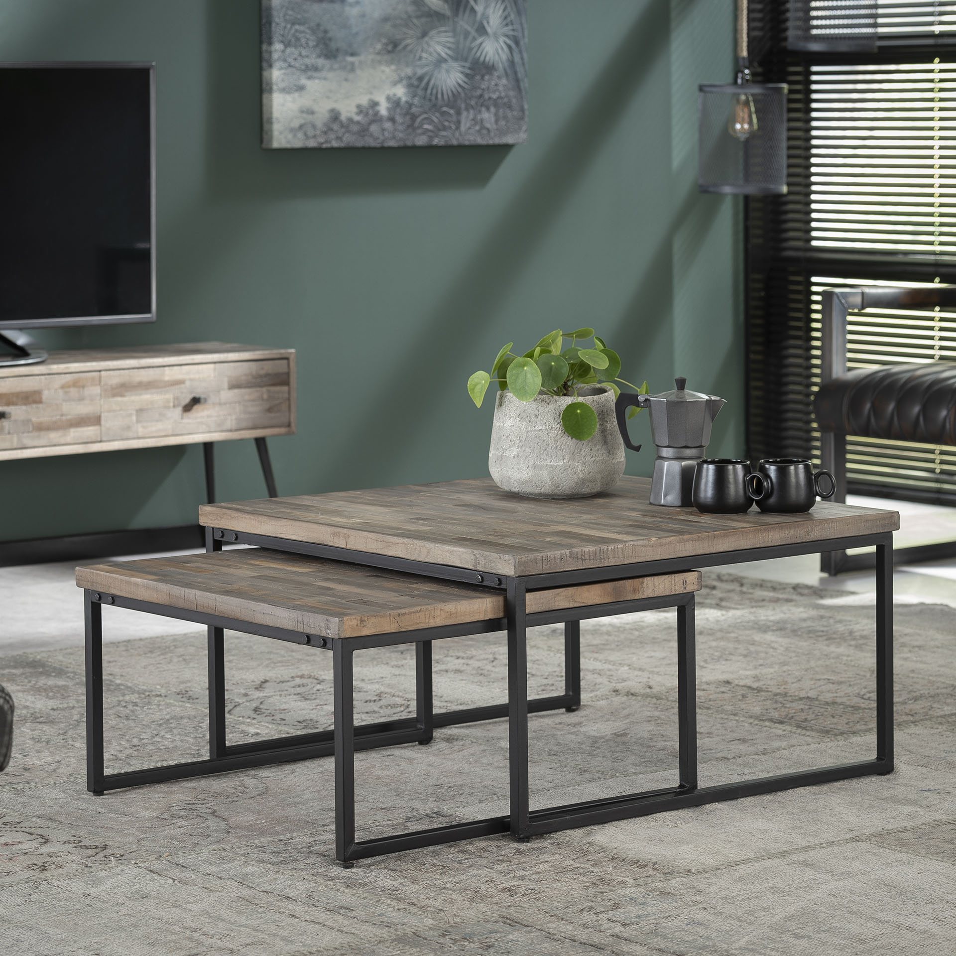 Grande Table Basse Gigogne Teck Recycle 2 Pieces Java Tables
