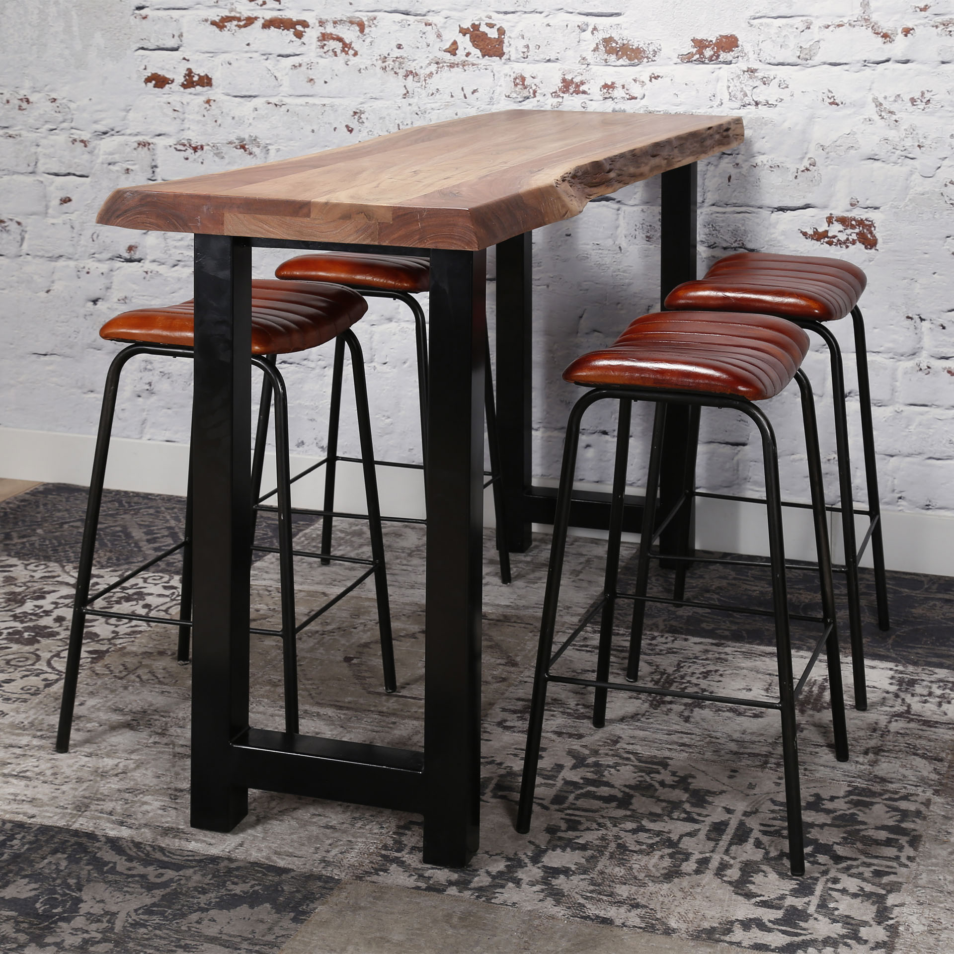 Table Haute Bois Massif.Table Bar Bois Massif Metal 150 Cm Melbourne