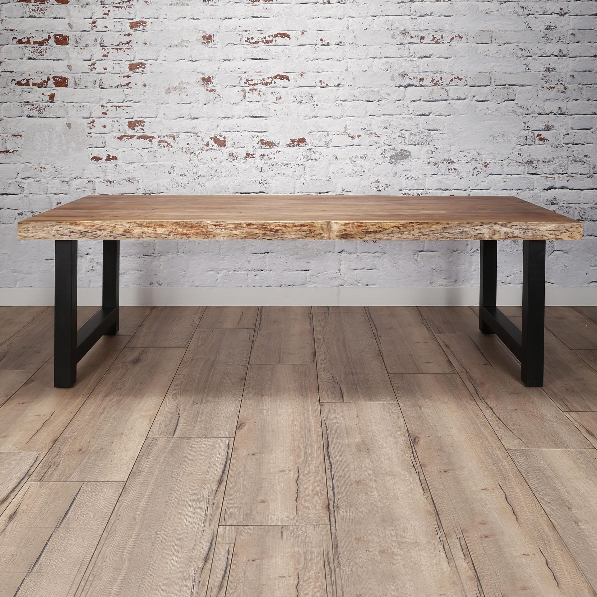 Table à manger bois massif métal 200 cm MELBOURNE | Tables à