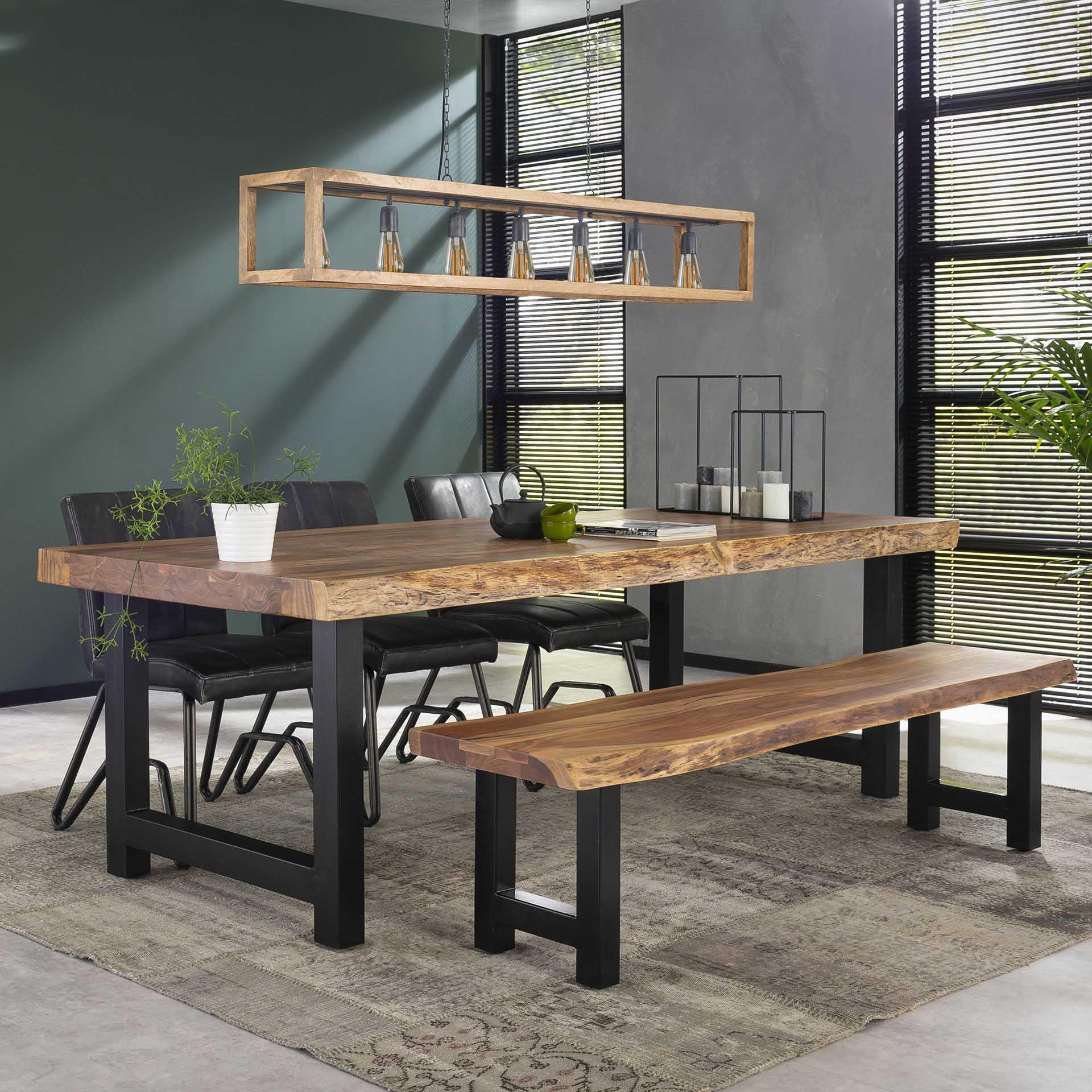Table A Manger Bois Massif Metal 240 Cm Melbourne Tables A