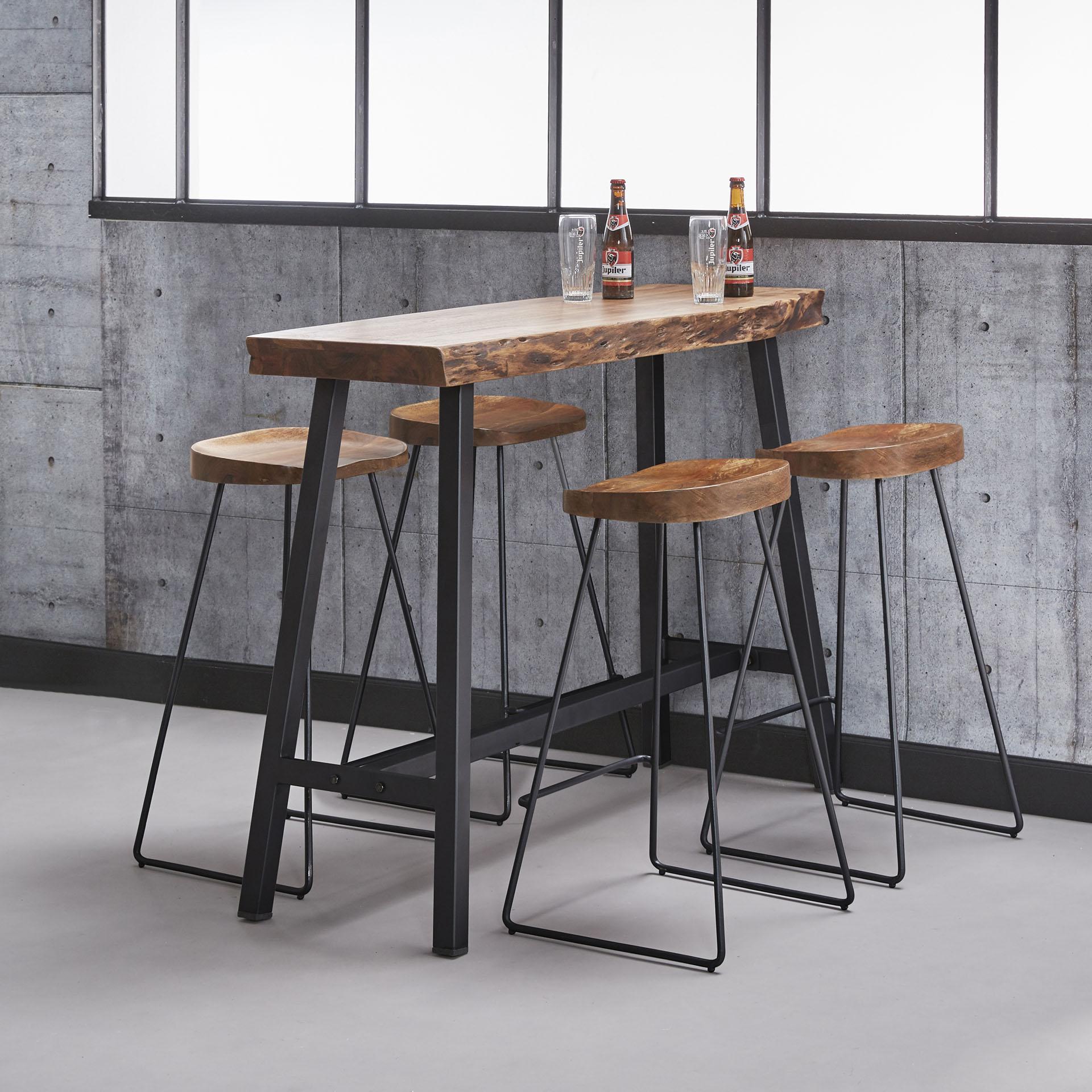 Table Bar Bois D Acacia Massif Metal 125 Cm Melbourne Tables