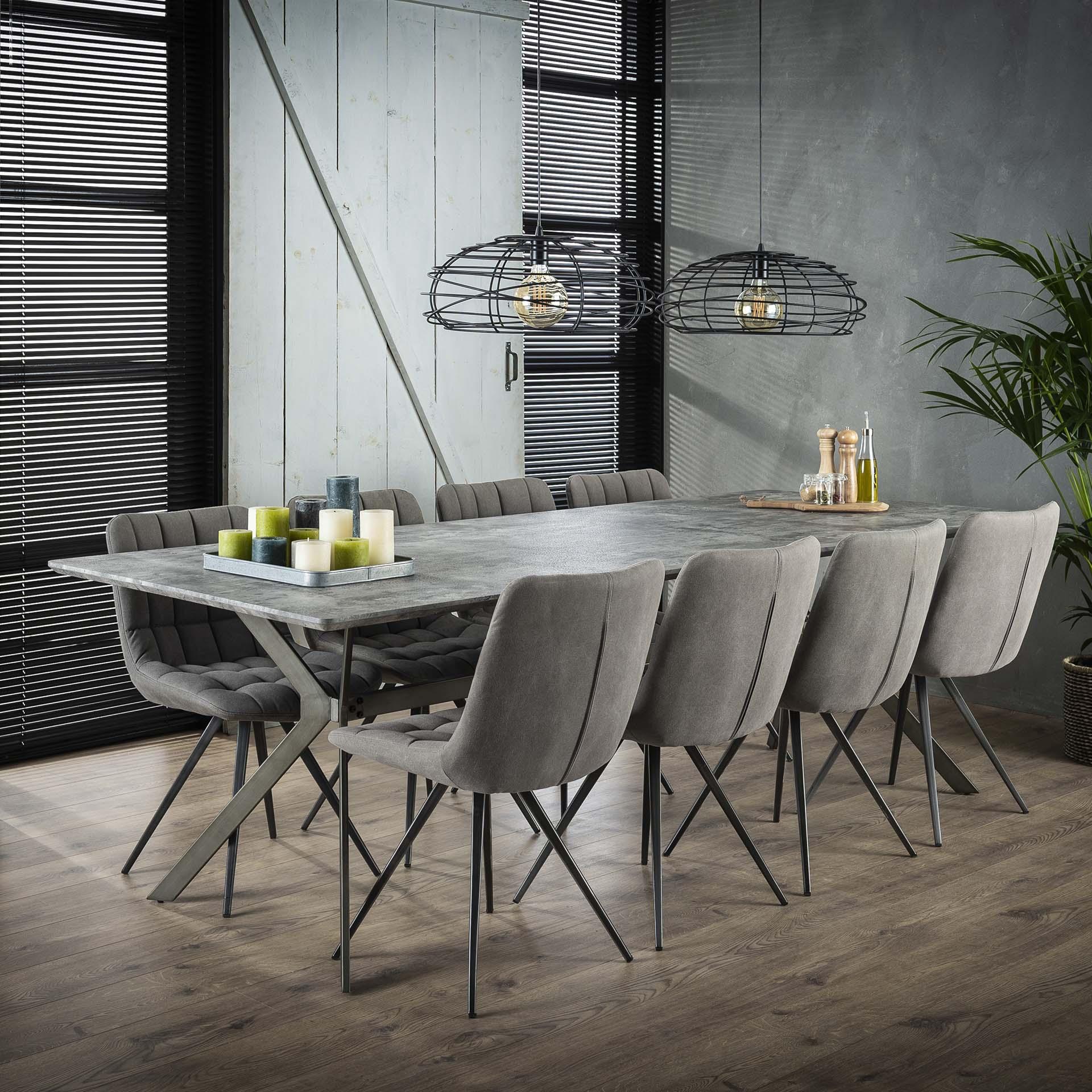 Table à manger rectangulaire effet béton traverse 240 cm HELSINKI