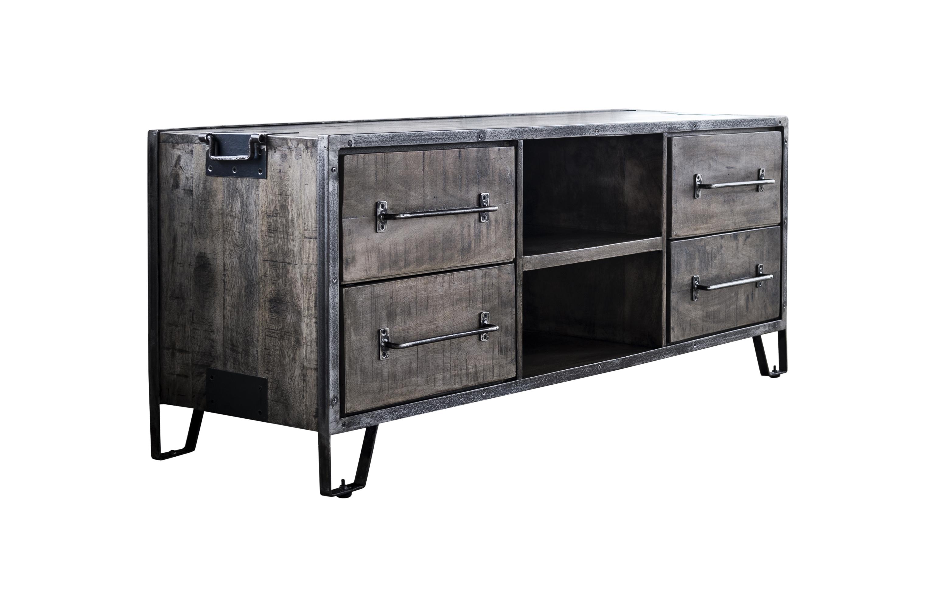 Poignée De Meuble Industrielle meuble tv industriel bois gris 4 tiroirs poignées roadies