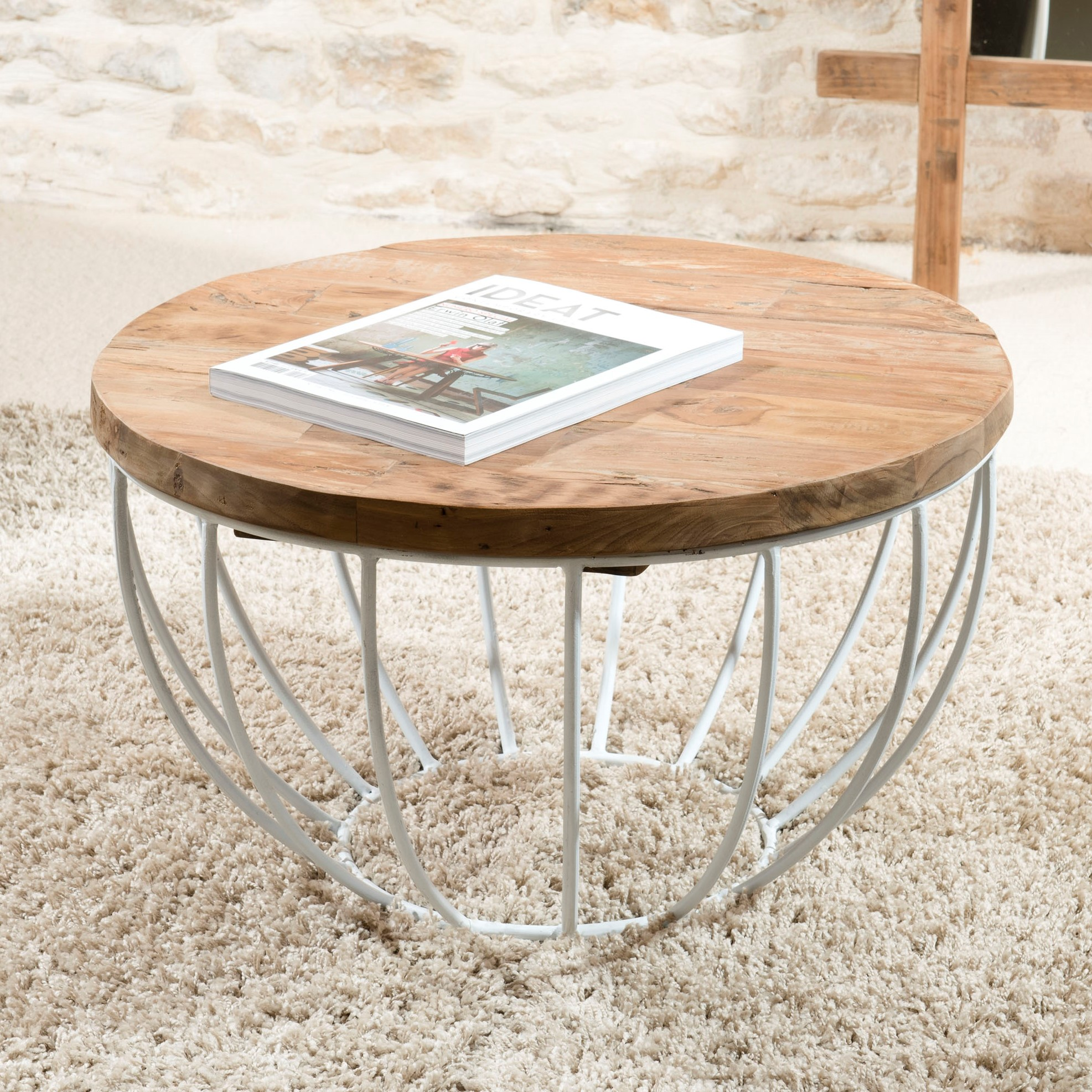 Petite Table Basse Ronde Teck Recycle Structure Filaire Blanche