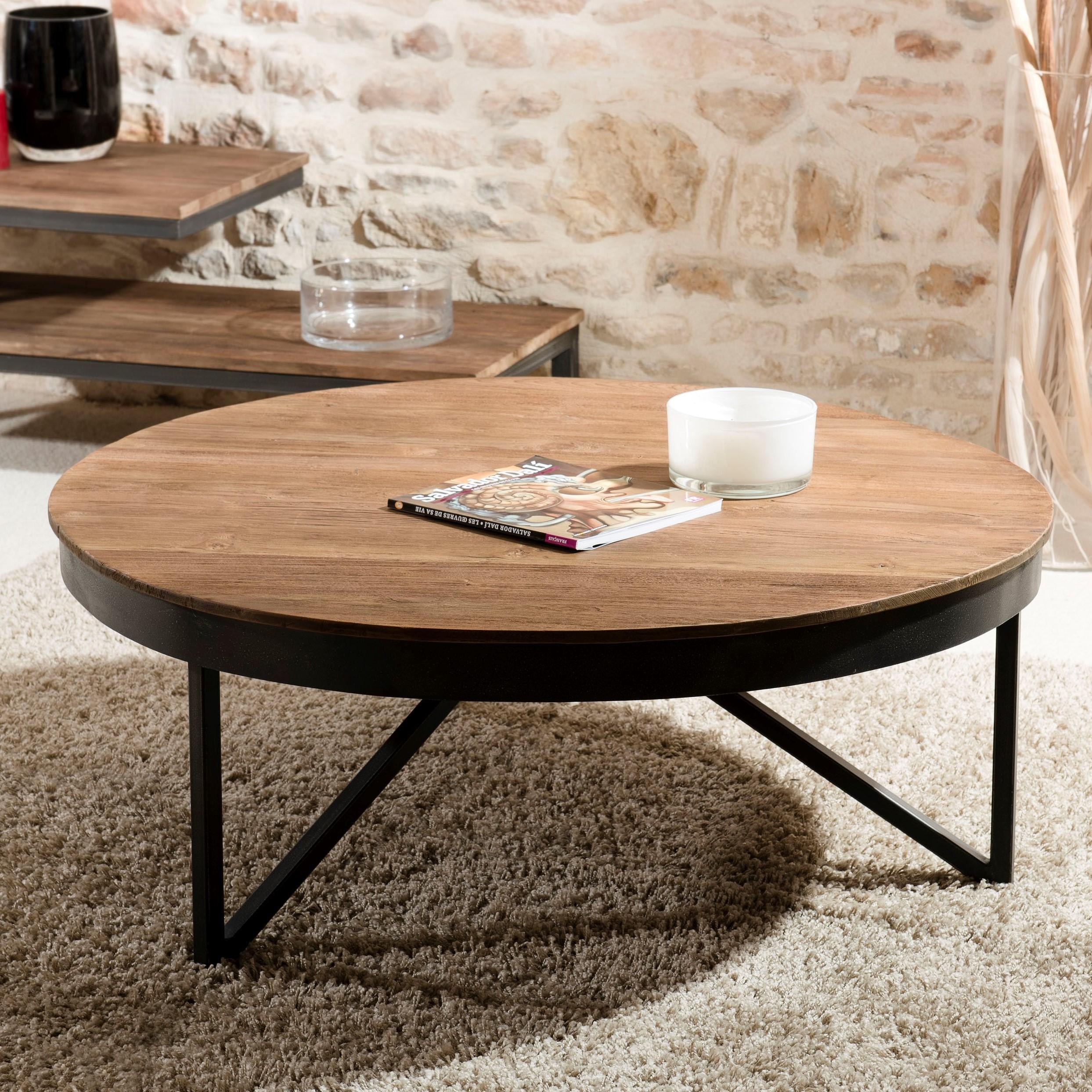 Table Basse Grand Salon table basse ronde bois de teck recyclé métal noir grand modèle swing