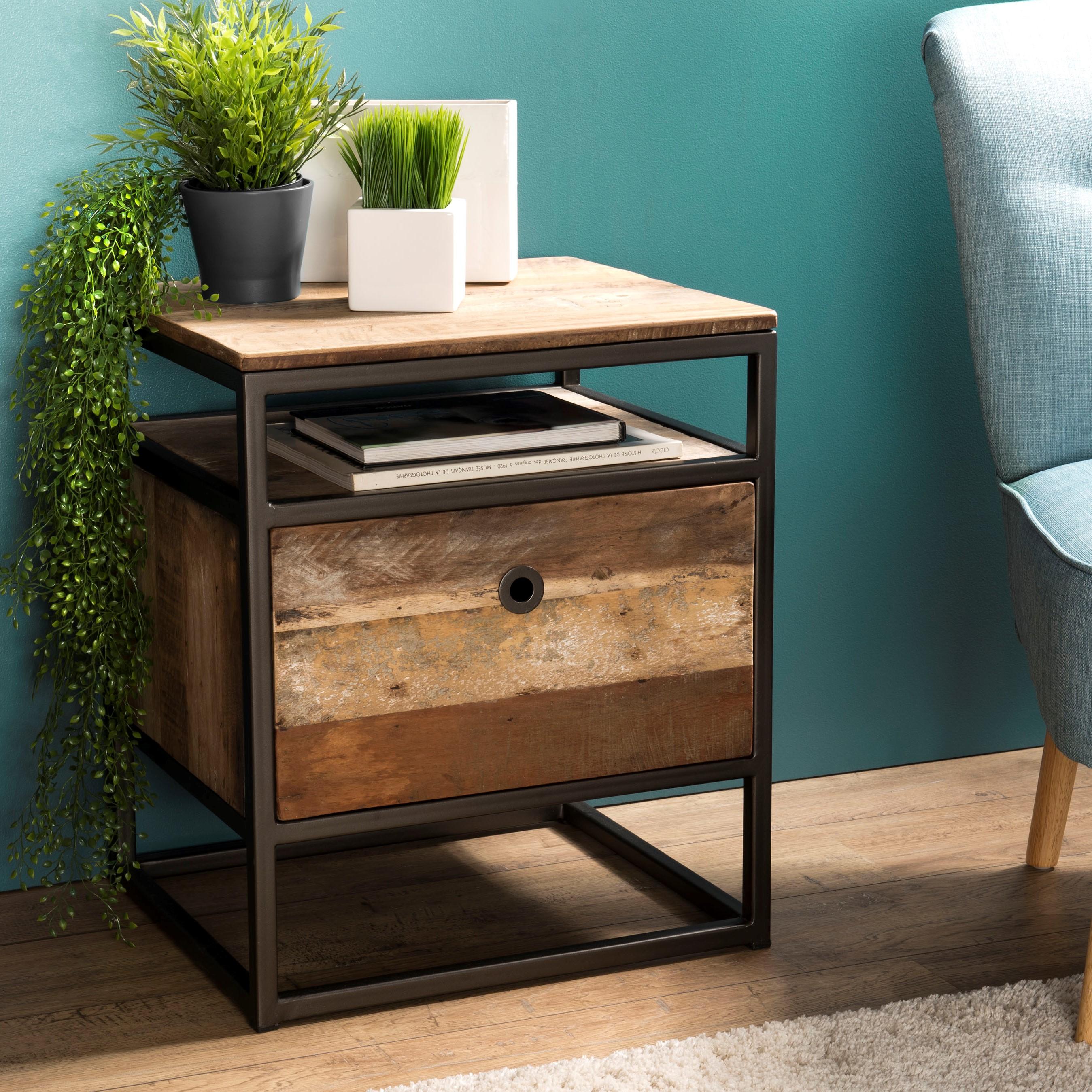 Petite Table De Nuit Bois table de chevet industrielle bois recyclé swing