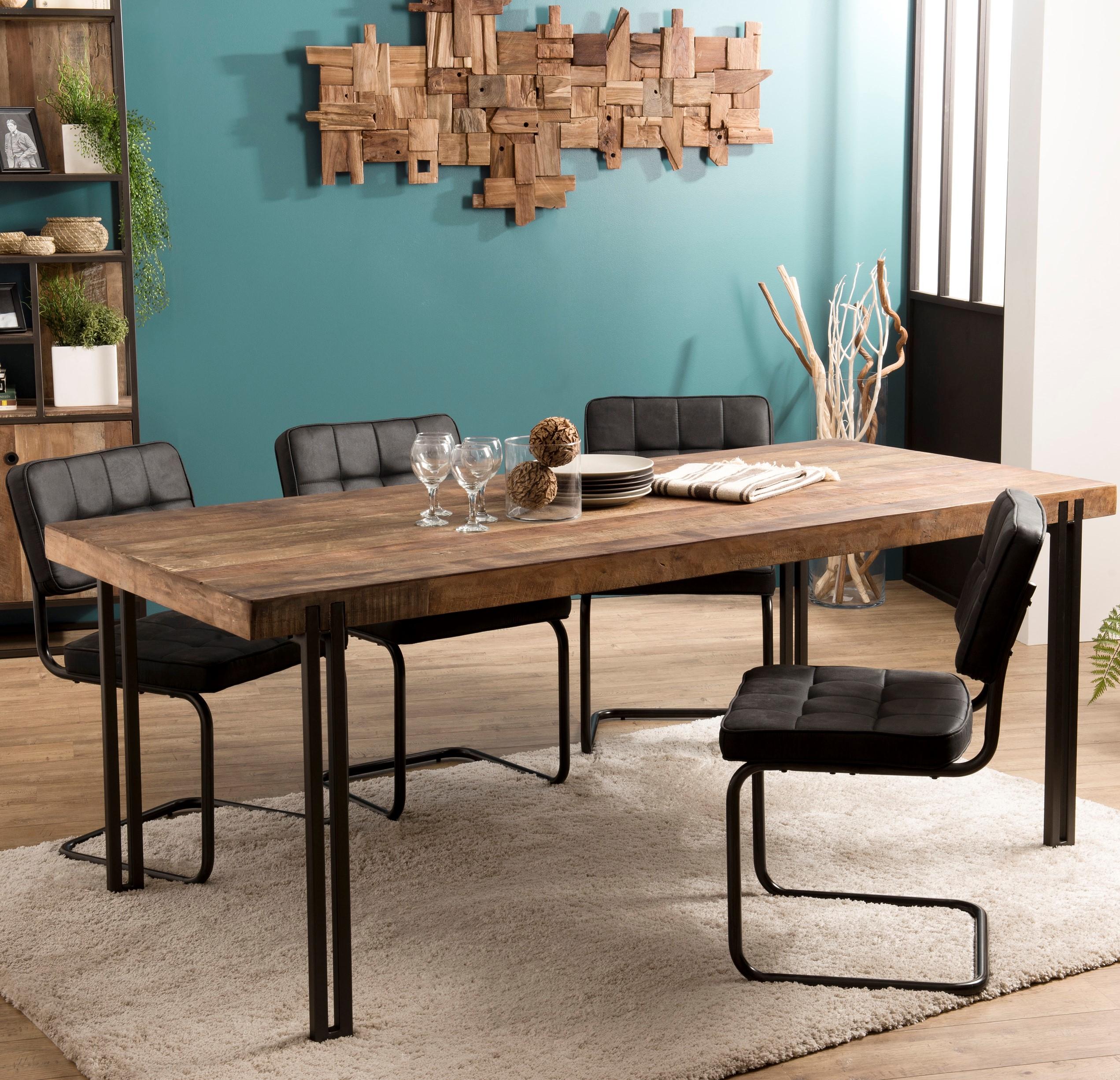 Table À Manger Industrielle table à manger industrielle teck recyclé 200x90 swing