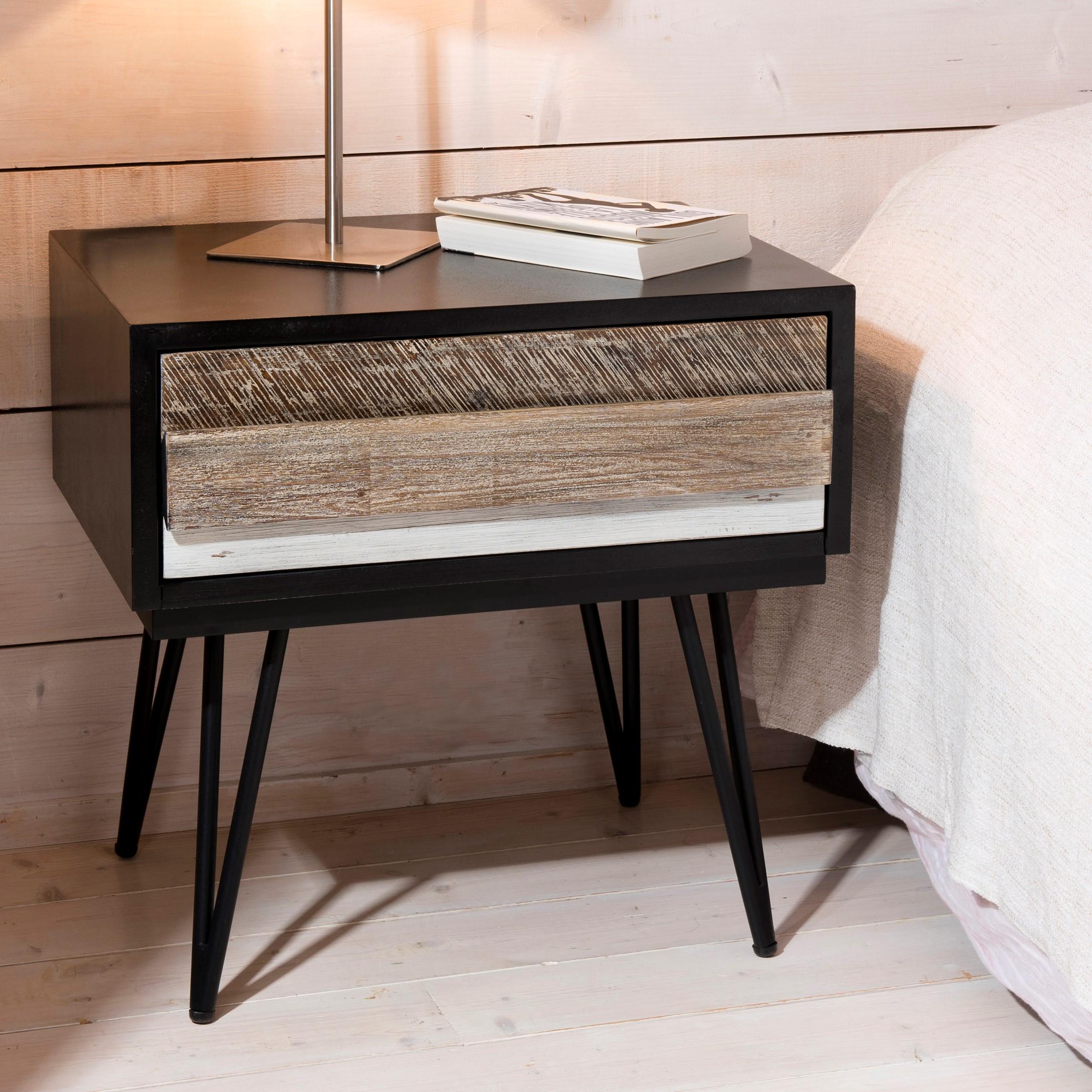 Table De Chevet En Acacia Massif Noir 1 Tiroir Bandes Teintes