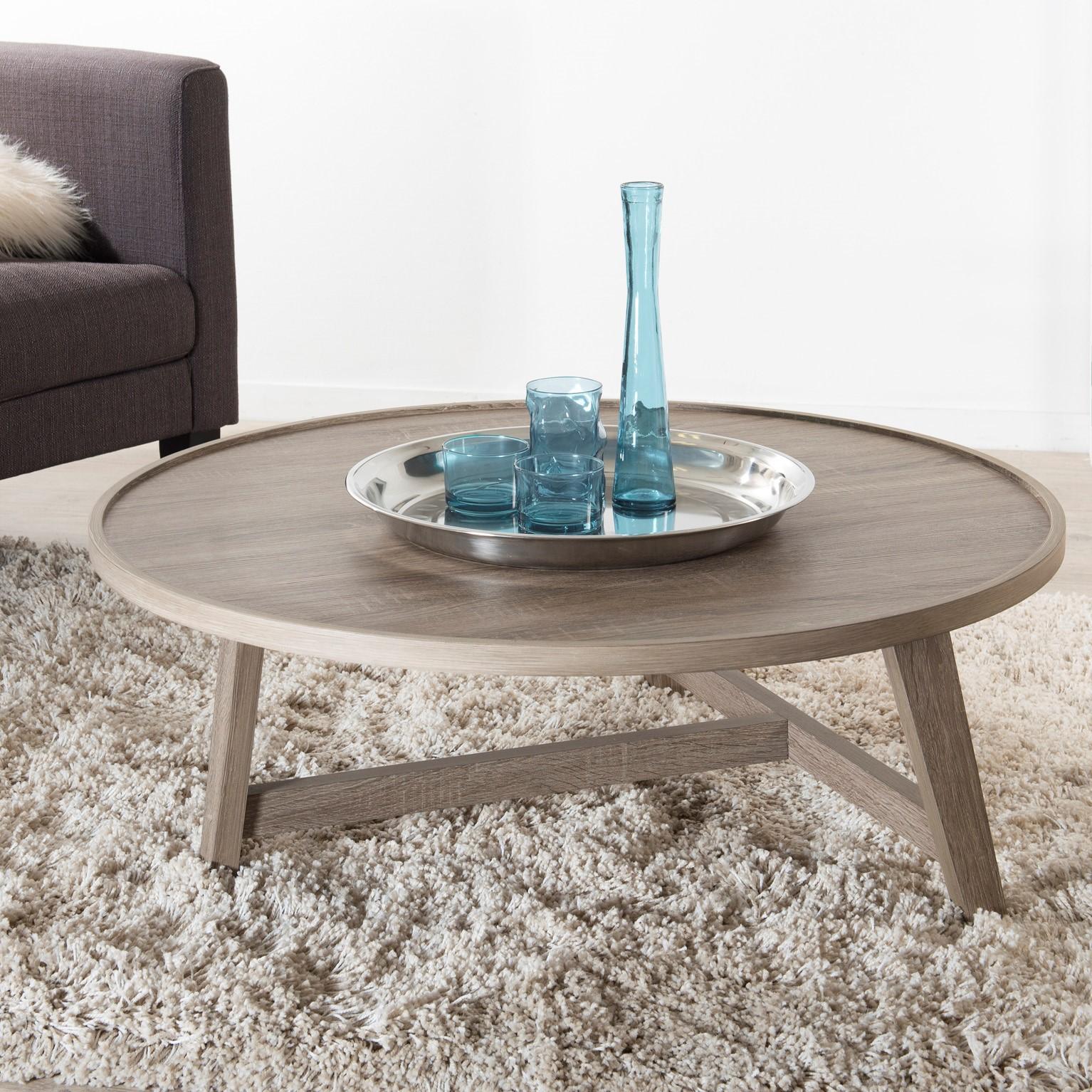 Table Basse Ronde Retro Bois Pieds Chevalet 90x90x36cm Landaise