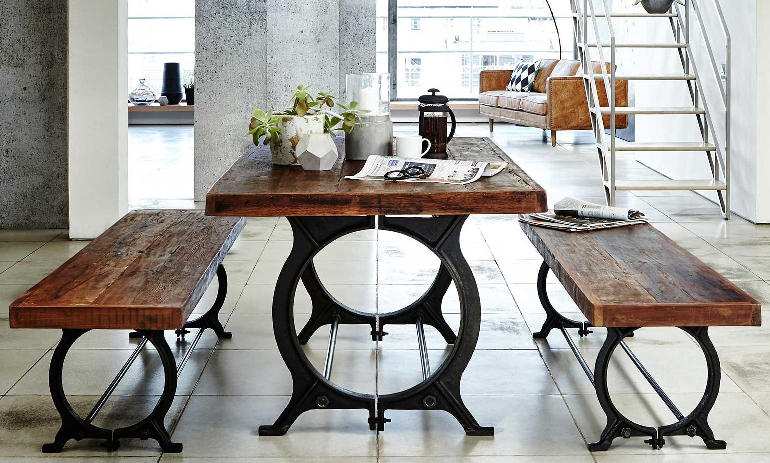 Table À Manger Industrielle table à manger industrielle vintage bois recyclé 180 cm leeds
