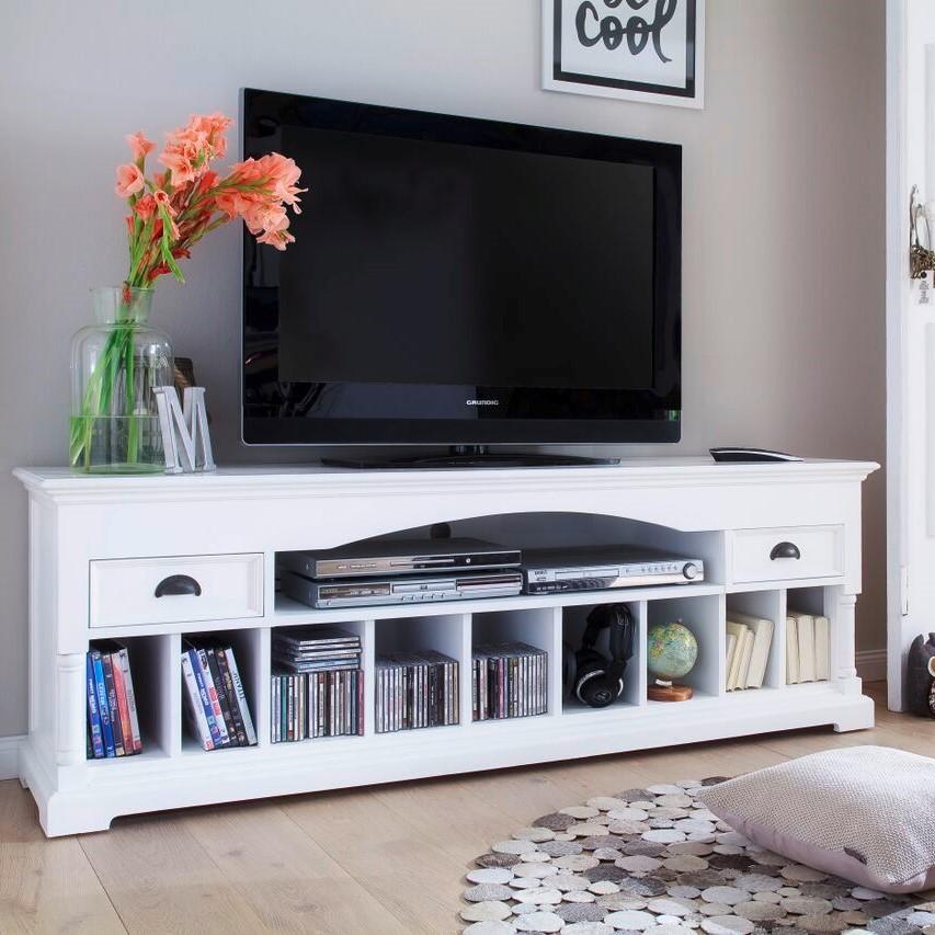 Meuble TV en bois blanc 2 tiroirs et niches de rangement ...