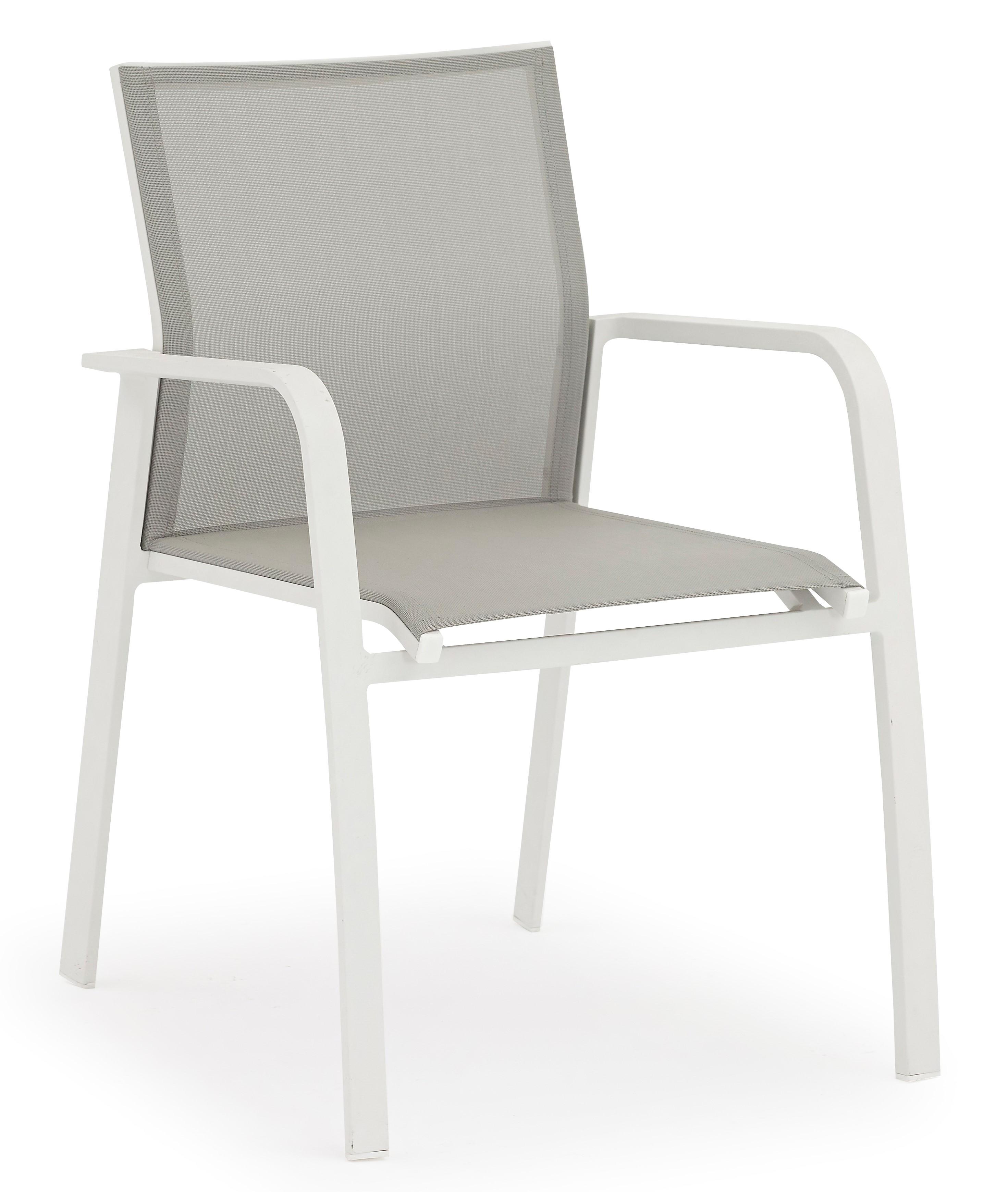 De Nice Aluminium Blanc Couleur En Textilène Jardin Gris Fauteuil Et ...