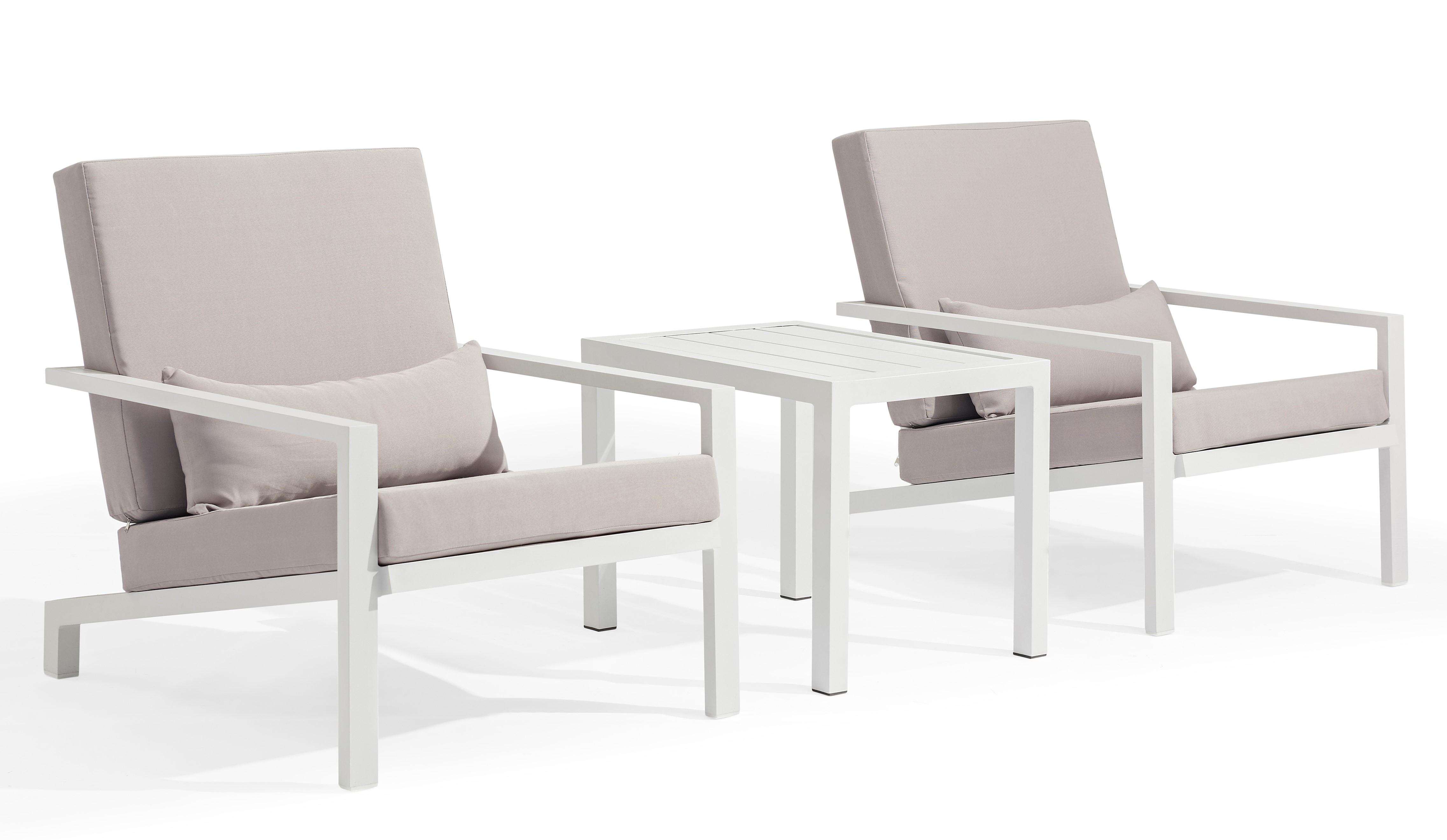 Salon de Jardin FUN 3 pièces en aluminium blanc gris et coussins tissu gris  clair