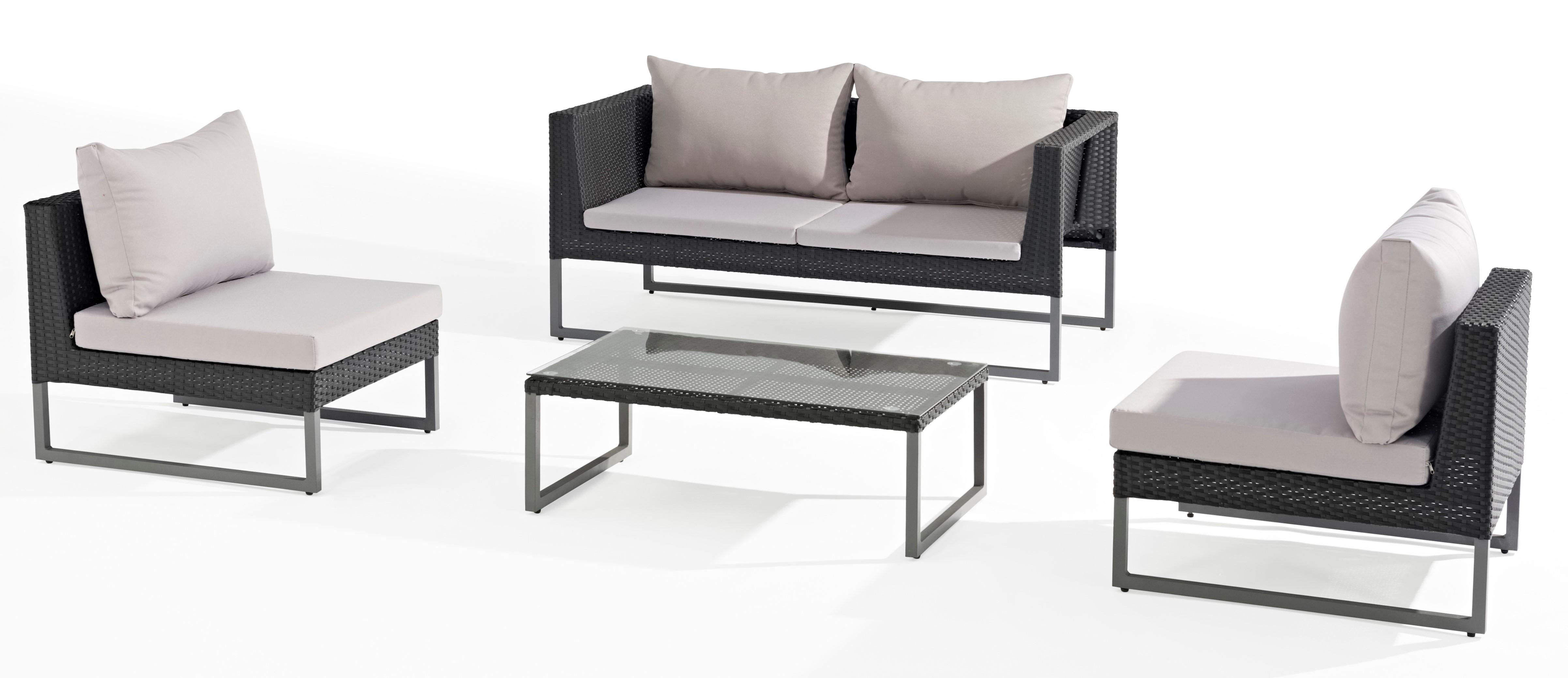 Salon de Jardin CLEVER 4 pièces en aluminium gris anthracite et ...