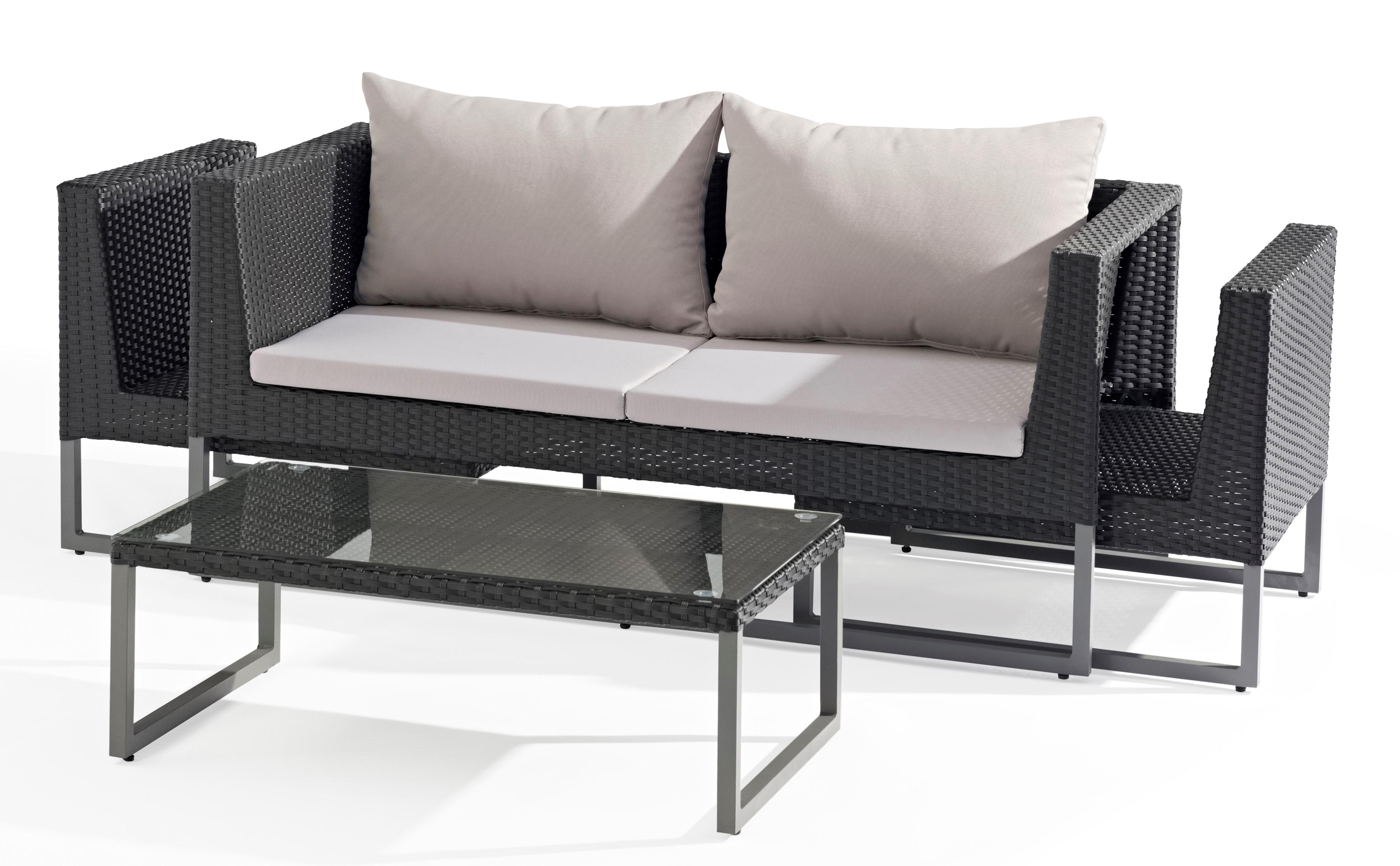 Salon de Jardin CLEVER 4 pièces en aluminium gris anthracite ...