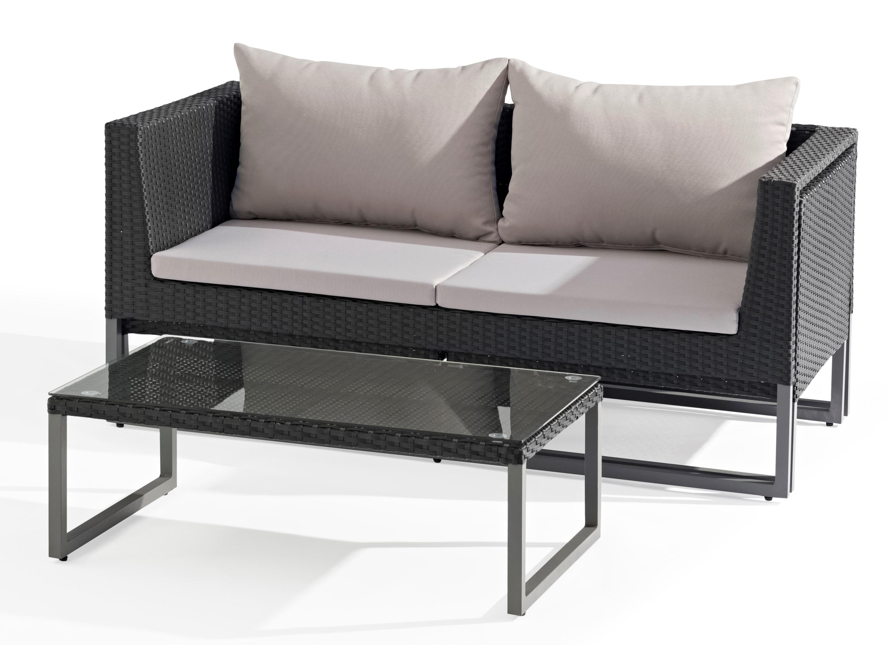 Salon de Jardin CLEVER 4 pièces en aluminium gris anthracite et résine  tressée noire et coussins tissu gris clair