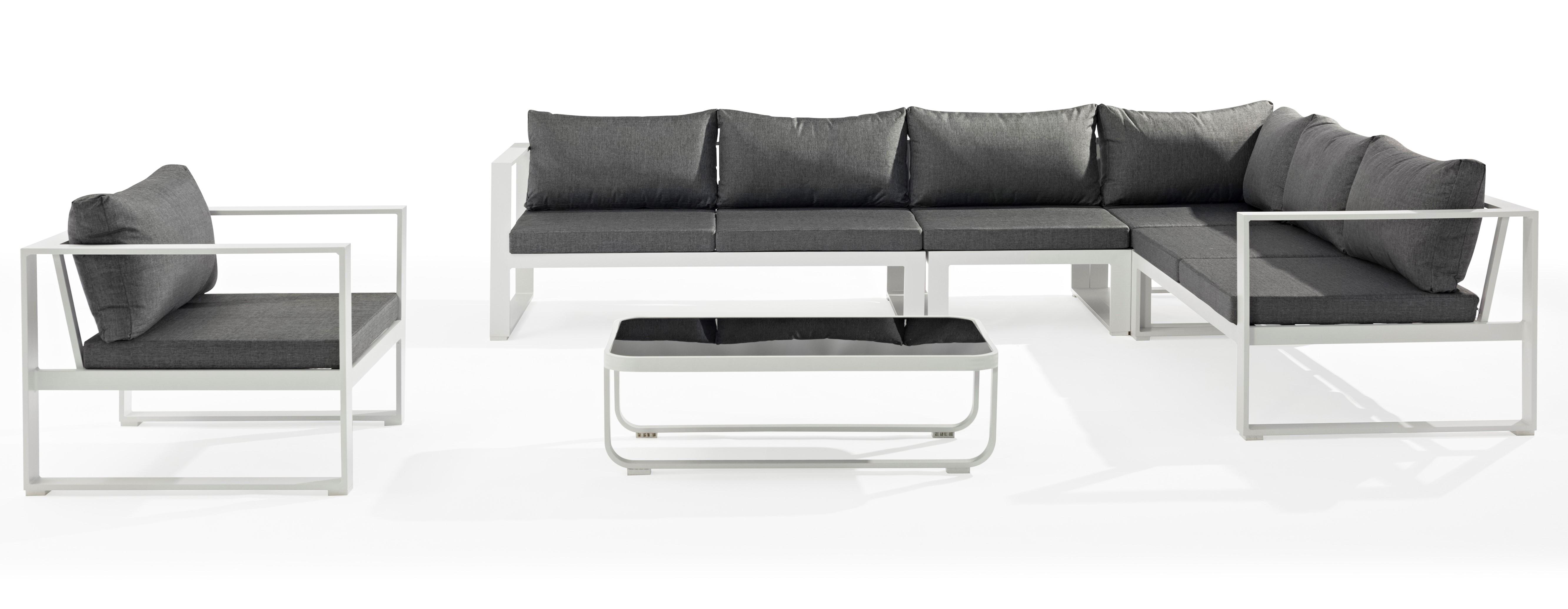 Salon de Jardin MIAMI 6 pièces en aluminium blanc gris et coussins tissu  gris
