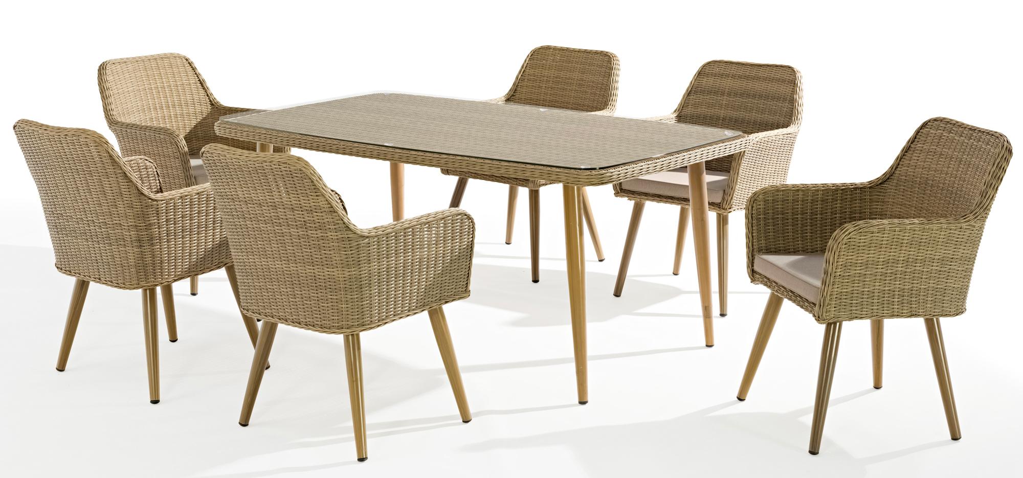 Table de Jardin CUBA 180cm en résine tressée couleur sable et ...