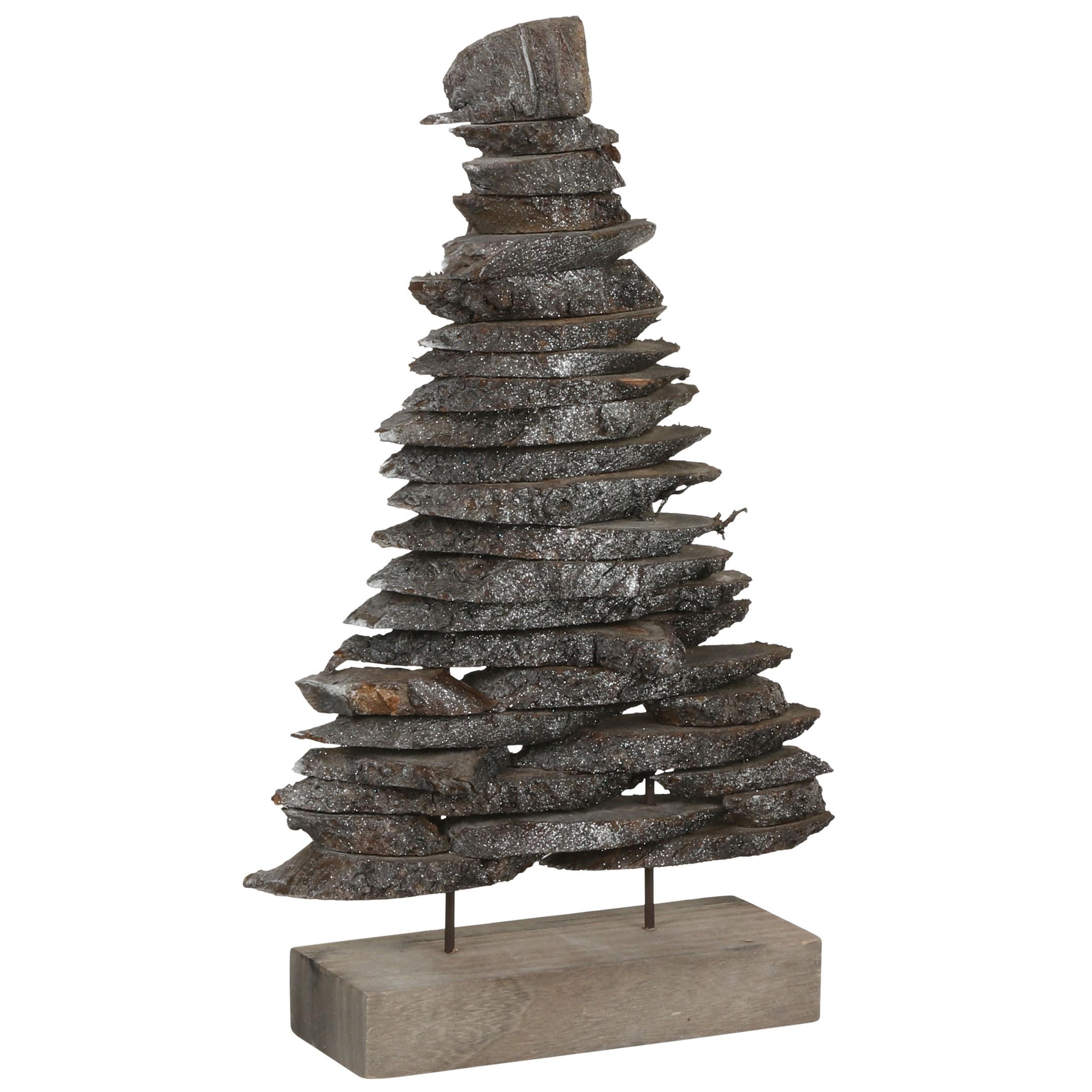 Sapin De Noel Suspendu En Bois sapin de noël déco bois gris sur socle h 40 cm