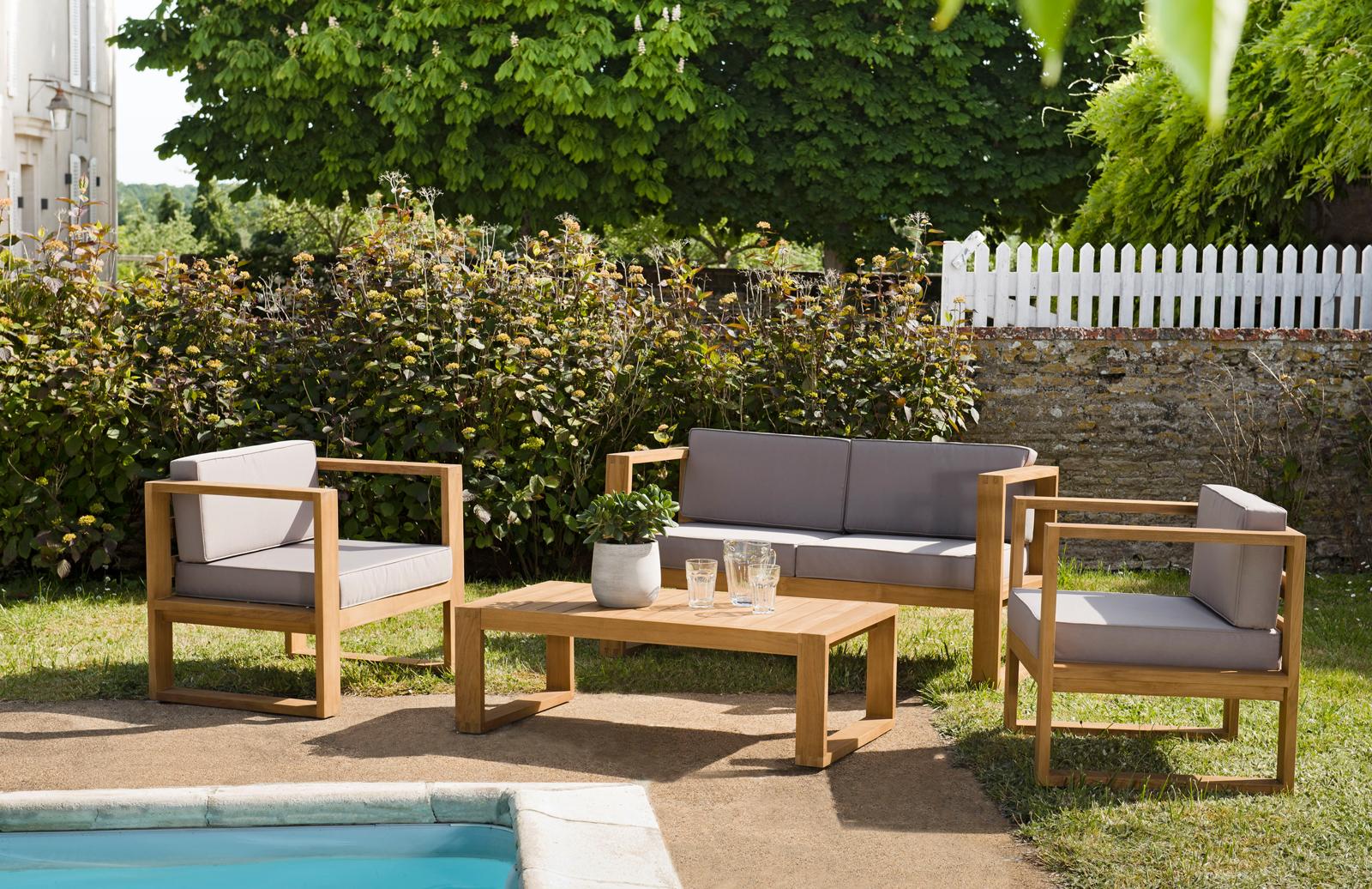 Salon de jardin en teck SUMMER (1 canapé 2 places, 2 fauteuils, 1 ...