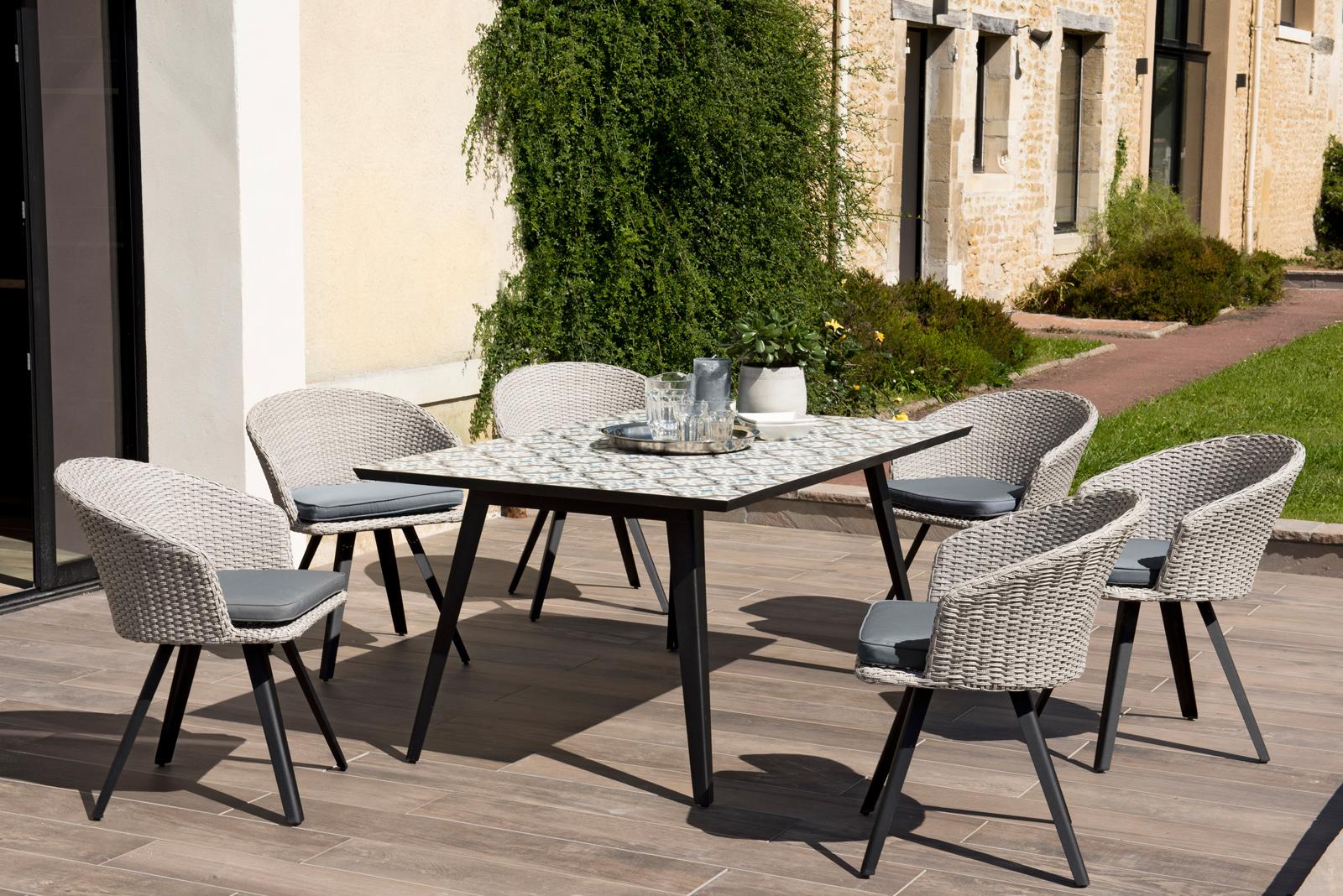 Salon De Jardin Carreau De Ciment salon de jardin summer (1 table de jardin 162x102 carreaux de ciment, 6  fauteuils de jardin)