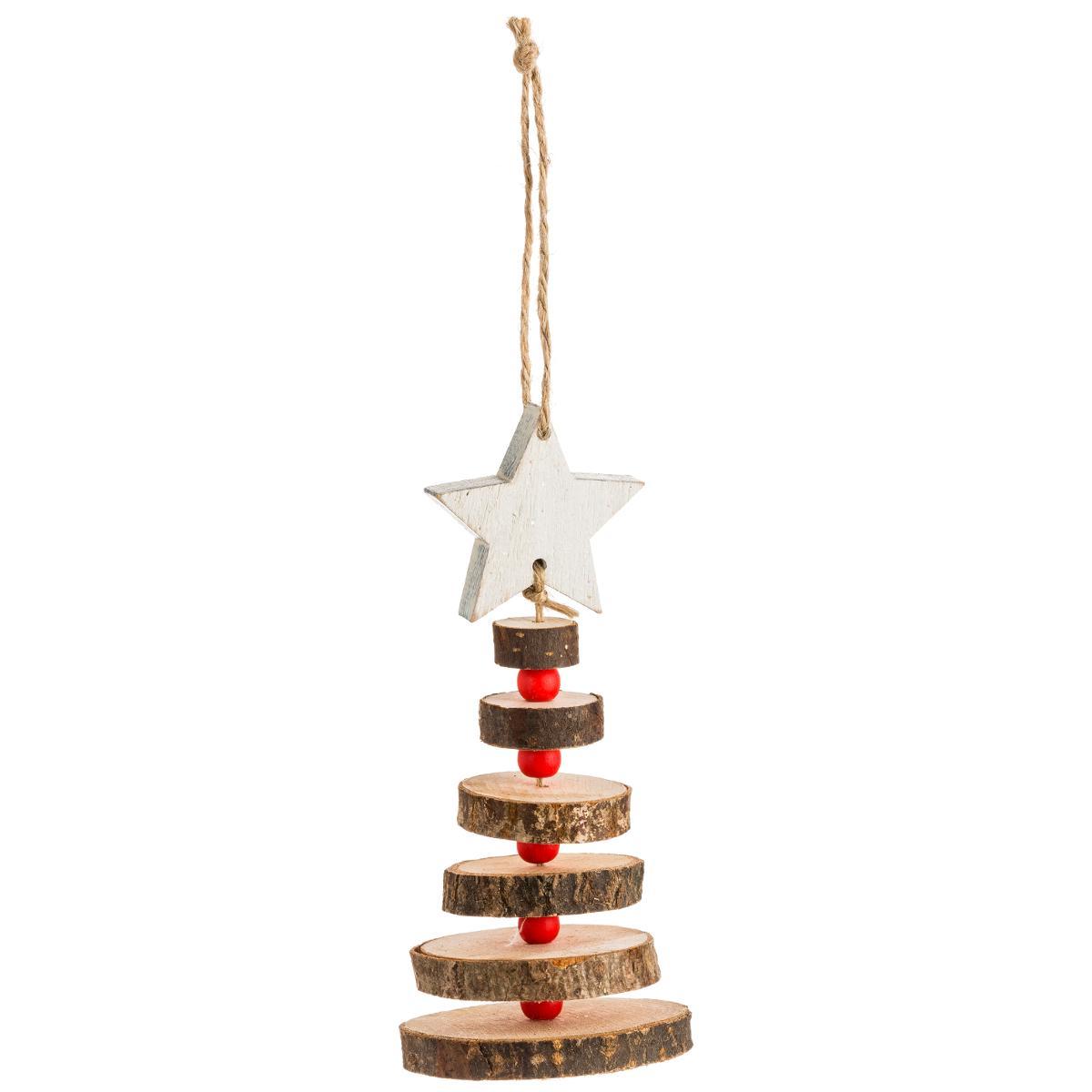Sapin De Noel Suspendu En Bois sapin en rondin de bois sommet étoile blanche à suspendre