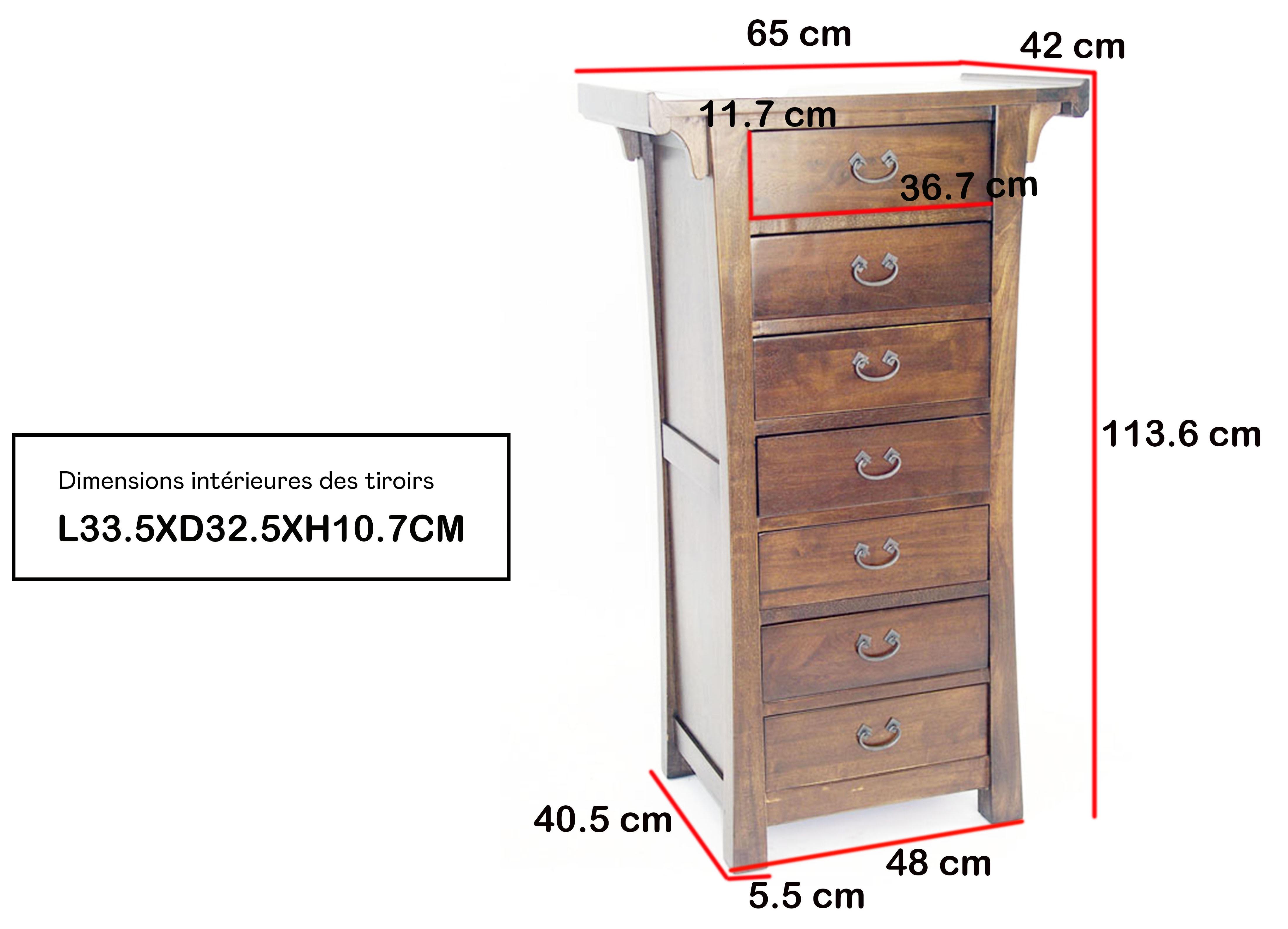 Semainier meuble bois massif style colonial MAORI