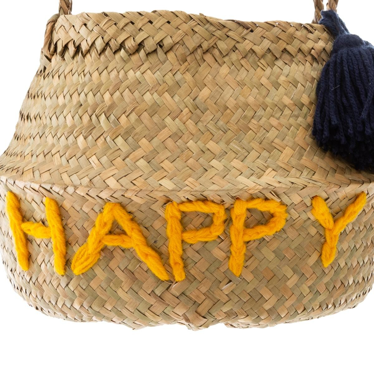 Panier Rond En Osier Decor Happy Jaune