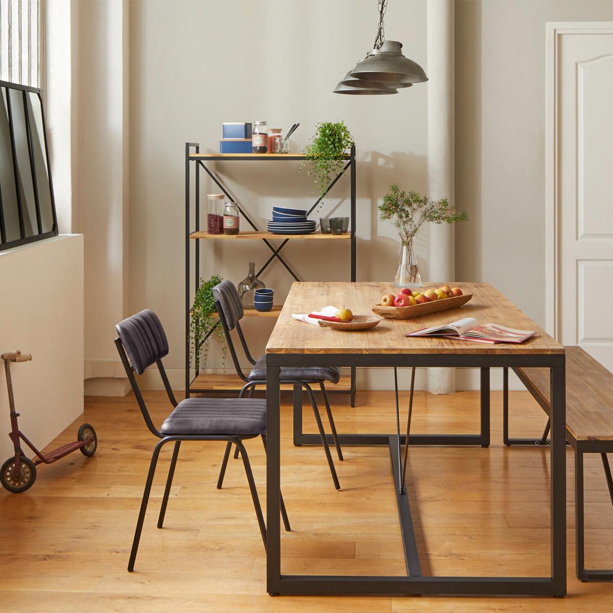 Table à manger rectangle en acacia et métal MEMPHIS