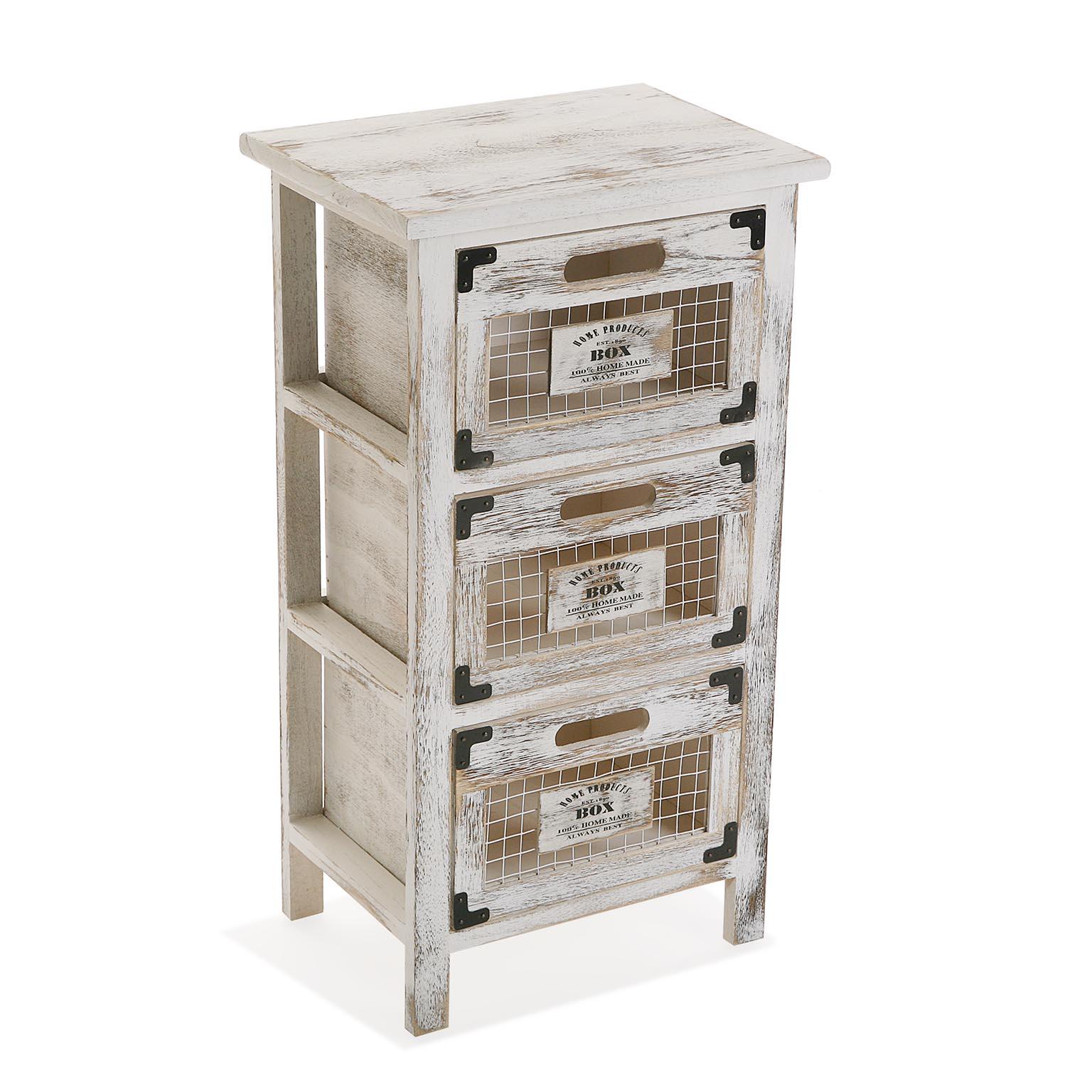 Petit meuble de rangement 3 tiroirs bois grillage   Petits meubles de rangement   Pier Import