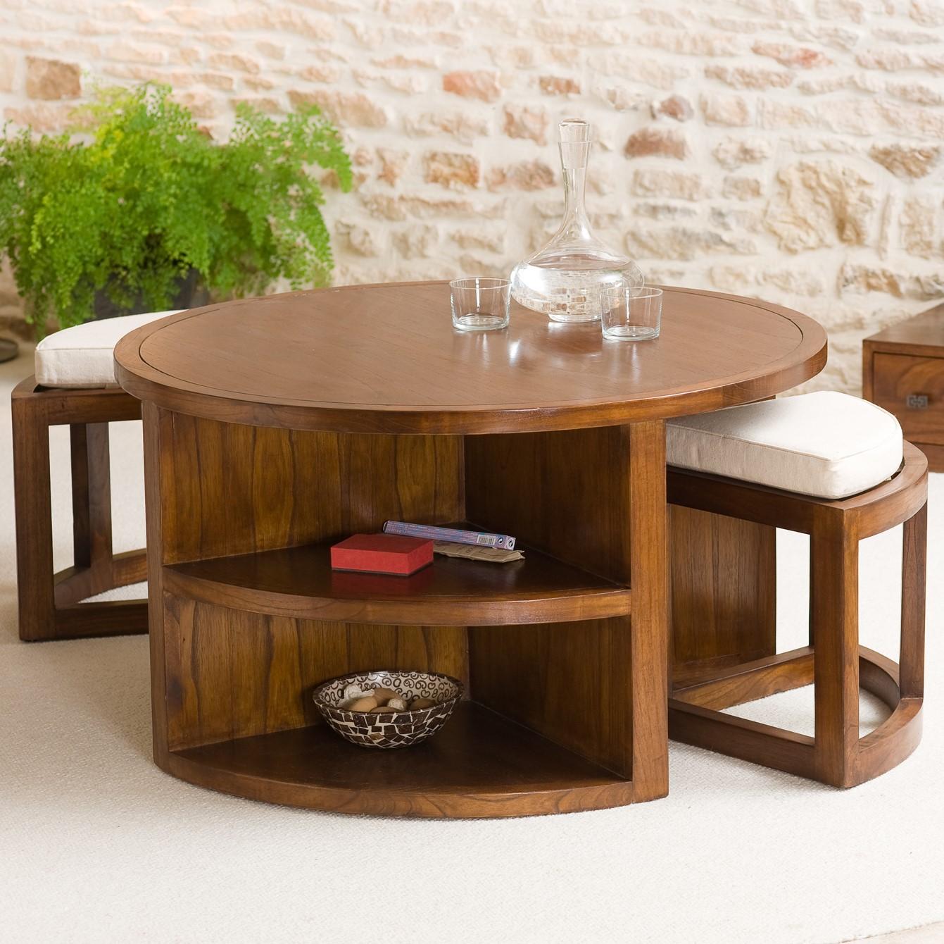 Table Basse Ronde 2 Tabourets Avec Coussins D90cm Lola Tables