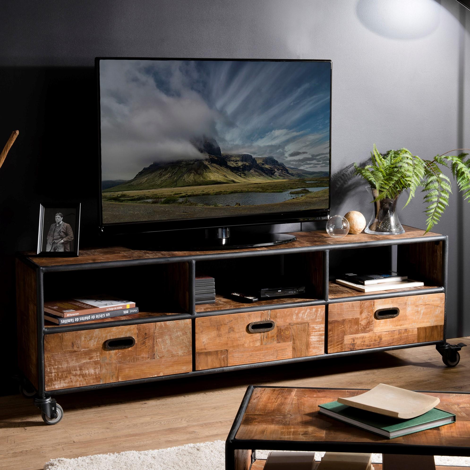 Quelle Hauteur Meuble Tv meuble tv à roulettes teck recyclé swing