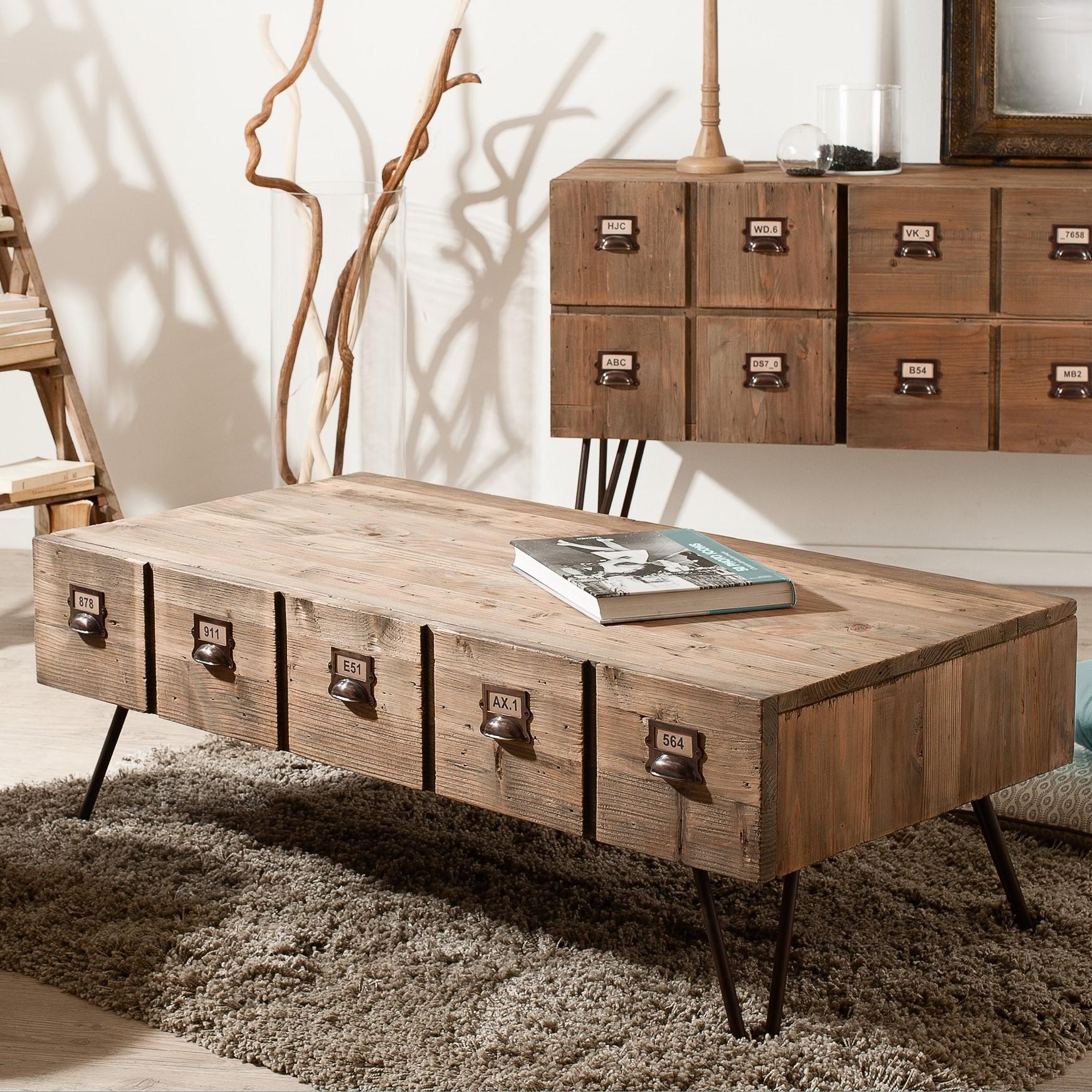 Table Basse 1 Tiroir Pin Recycle 120 5x60 3x43 5cm Atelier
