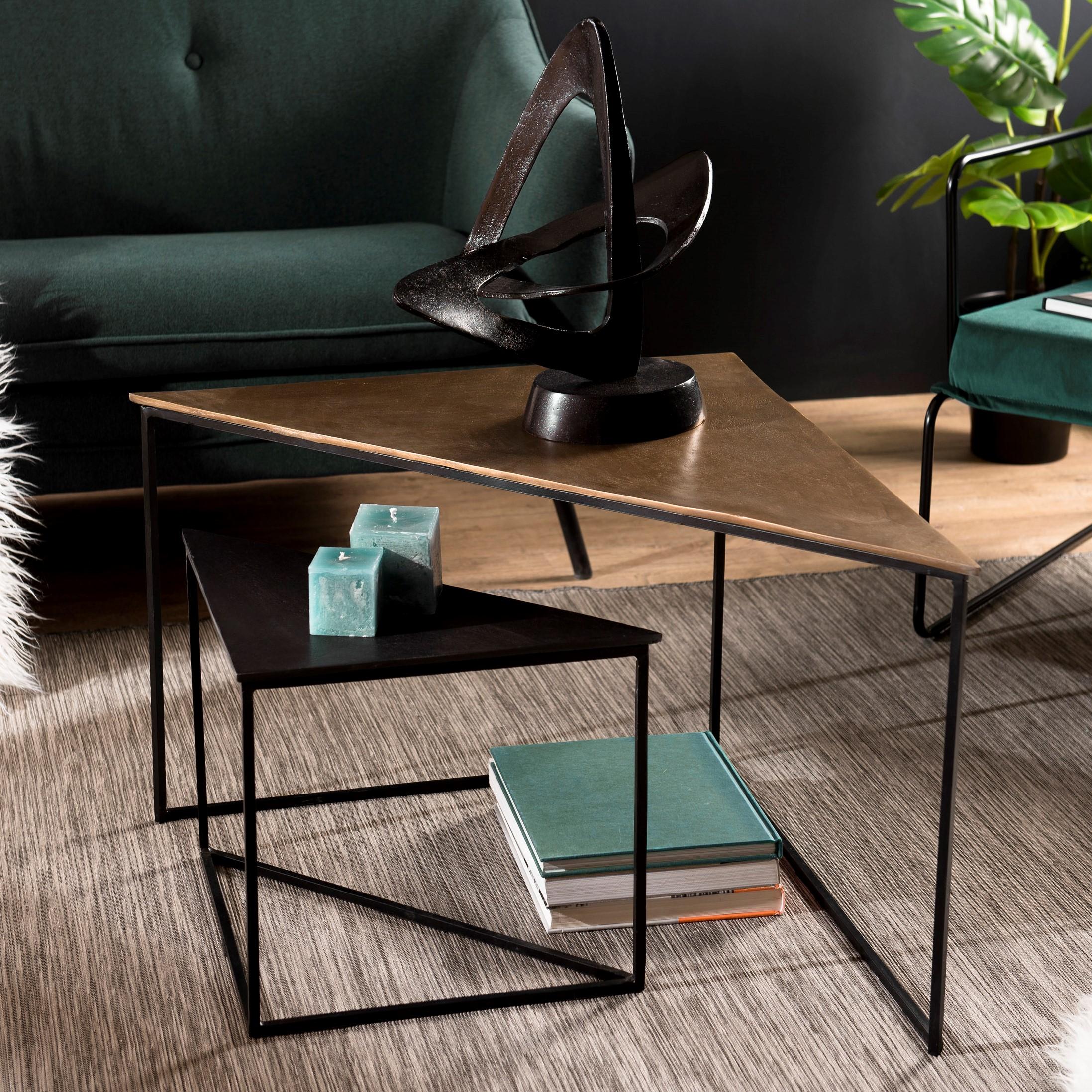 Table De Salon Gigogne Triangle Noir Et Or 2 Pieces Zala